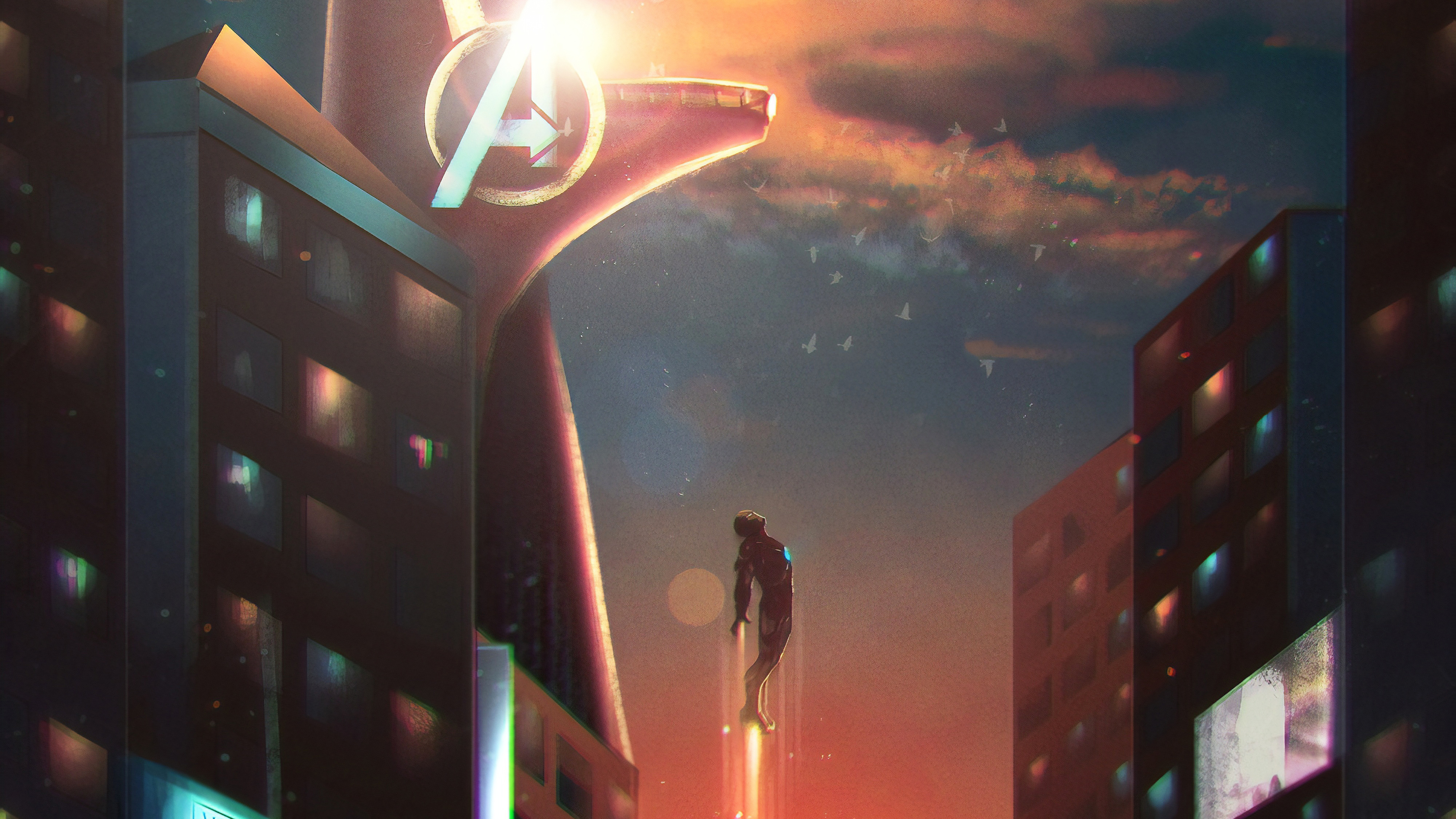 iron man stark tower 4k 1559764198 - Iron Man Stark Tower 4k - superheroes wallpapers, iron man wallpapers, hd-wallpapers, digital art wallpapers, artwork wallpapers, artstation wallpapers, artist wallpapers, 4k-wallpapers