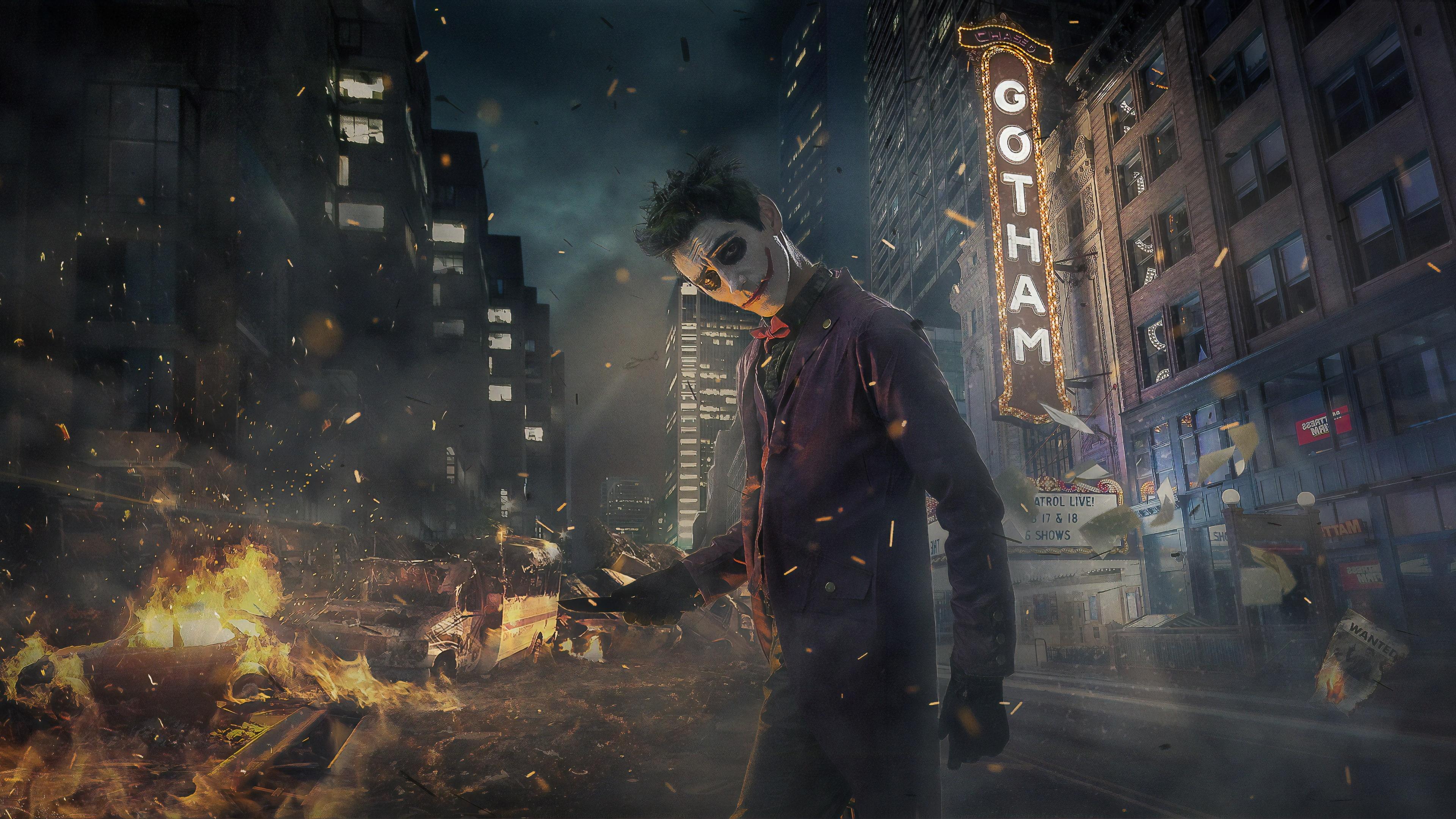 joker cosplay gotham burning 1559764222 - Joker Cosplay Gotham Burning - superheroes wallpapers, joker wallpapers, hd-wallpapers, cosplay wallpapers, behance wallpapers, 4k-wallpapers