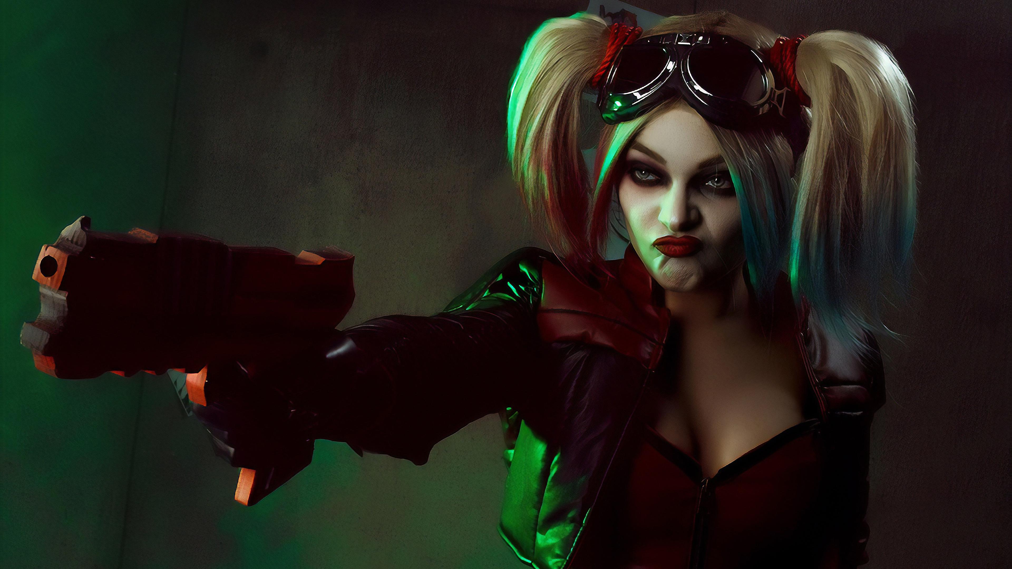 mad harley quinn cosplay 4k 1559764263 - Mad Harley Quinn Cosplay 4k - superheroes wallpapers, hd-wallpapers, harley quinn wallpapers, deviantart wallpapers, cosplay wallpapers, 4k-wallpapers