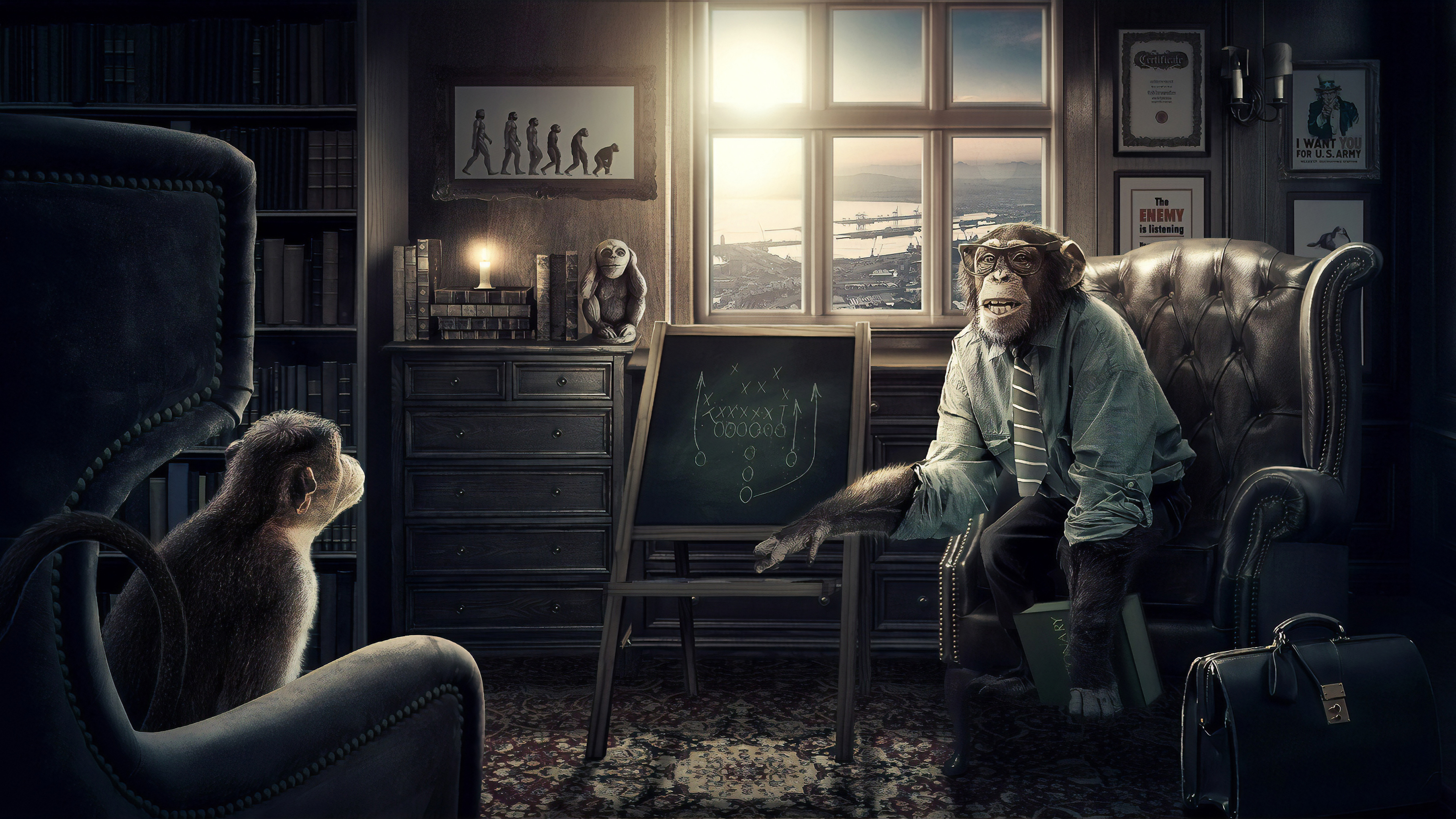 professor monkey 1560535255 - Professor Monkey - hd-wallpapers, digital art wallpapers, behance wallpapers, artist wallpapers, 4k-wallpapers