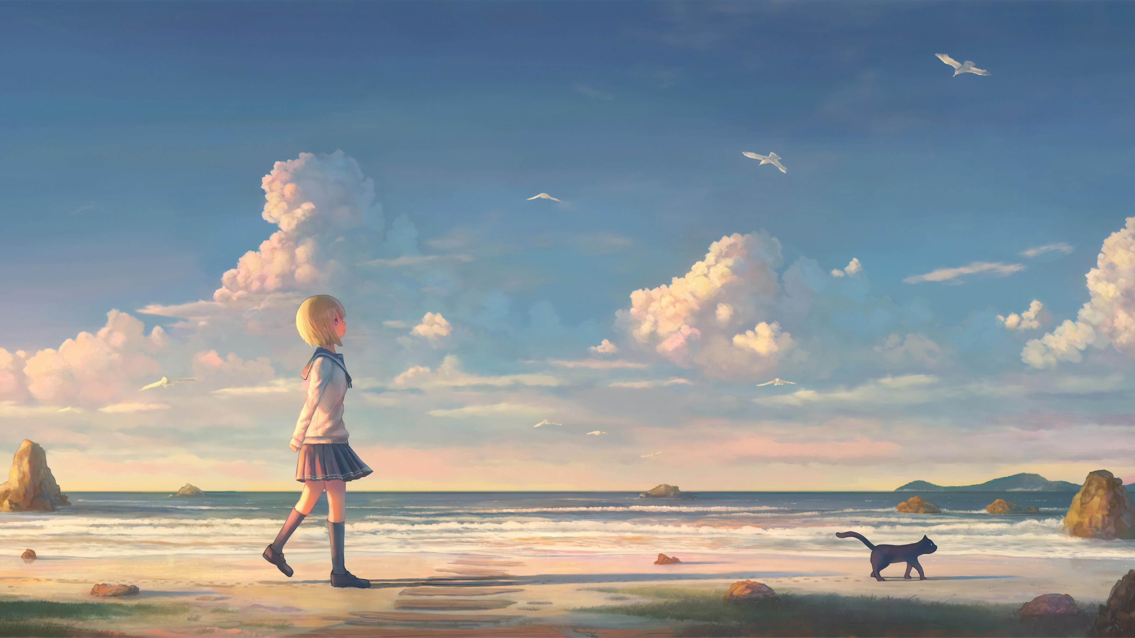 anime girl walking on beach with cat 1563222600 - Anime Girl Walking On Beach With Cat - hd-wallpapers, digital art wallpapers, artwork wallpapers, artist wallpapers, anime wallpapers, anime girl wallpapers, 4k-wallpapers