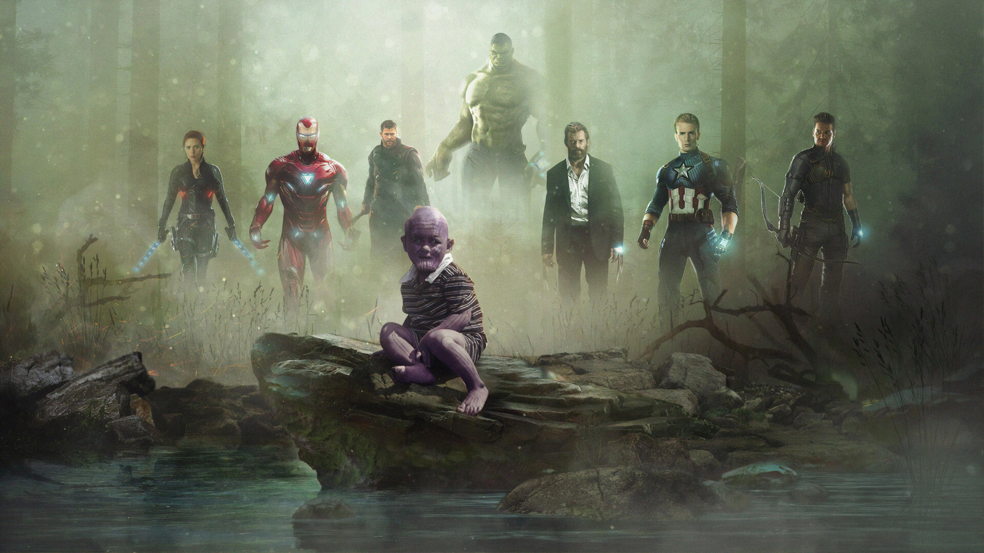 avengers vs kid thanos 1563220123 - Avengers Vs Kid Thanos - thanos-wallpapers, superheroes wallpapers, hd-wallpapers, avengers-wallpapers, artwork wallpapers, 4k-wallpapers