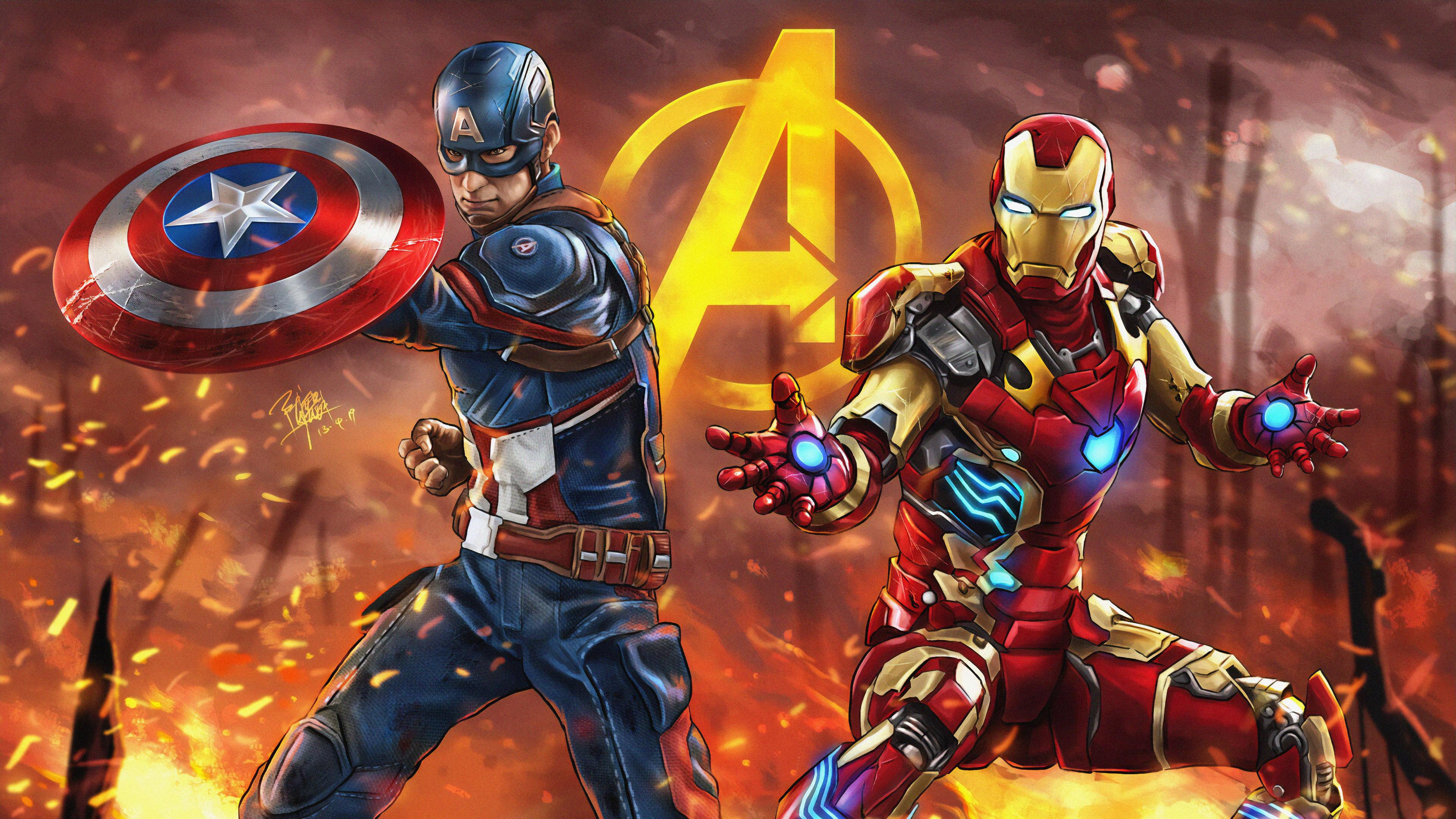 captain america and iron man 1563219822 - Captain America And Iron Man - superheroes wallpapers, iron man wallpapers, hd-wallpapers, captain america wallpapers, artwork wallpapers, 4k-wallpapers