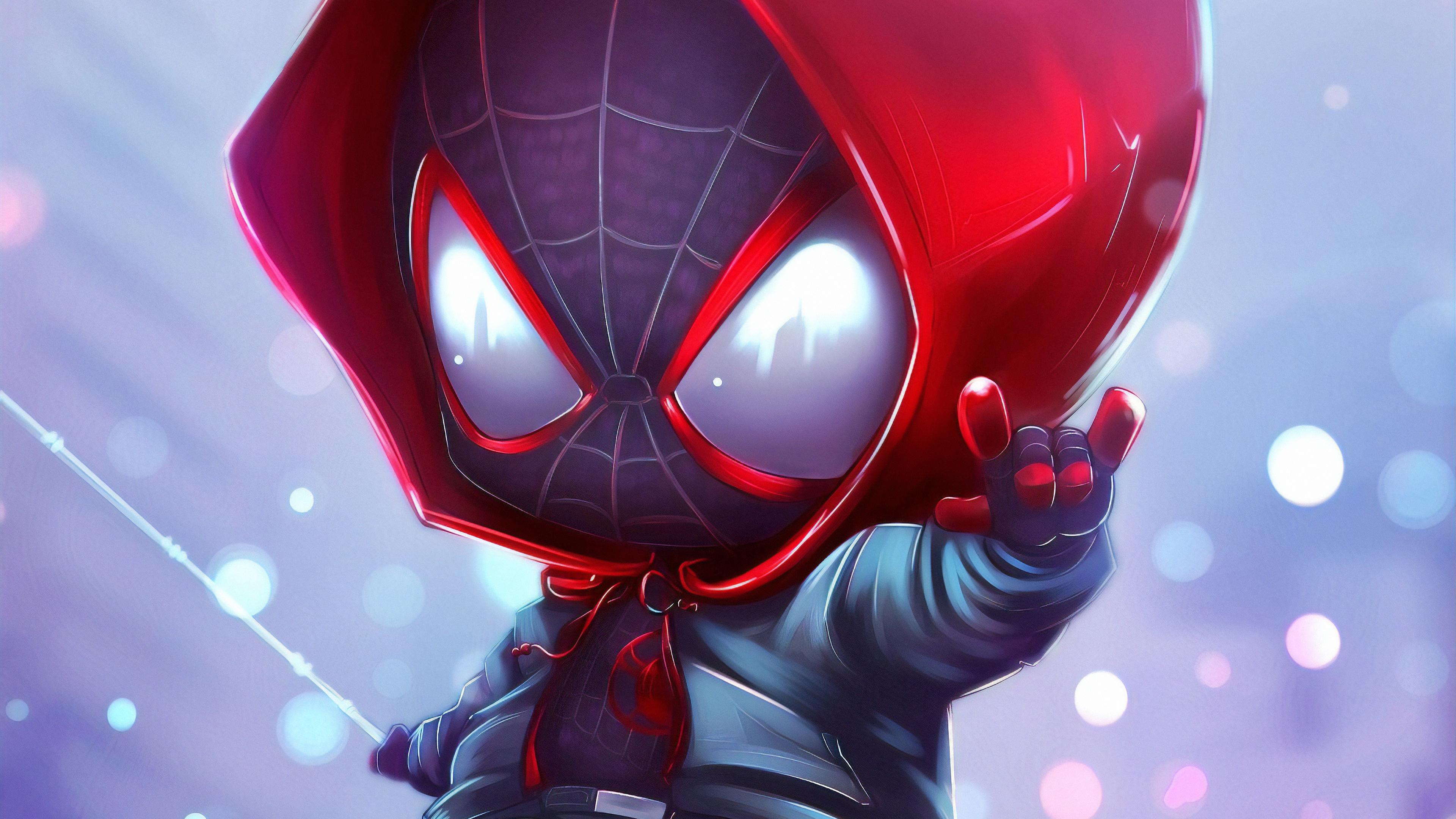 chibi spider miles 1562105694 - Chibi Spider Miles - superheroes wallpapers, spiderman wallpapers, hd-wallpapers, digital art wallpapers, artwork wallpapers, artstation wallpapers, art wallpapers, 4k-wallpapers
