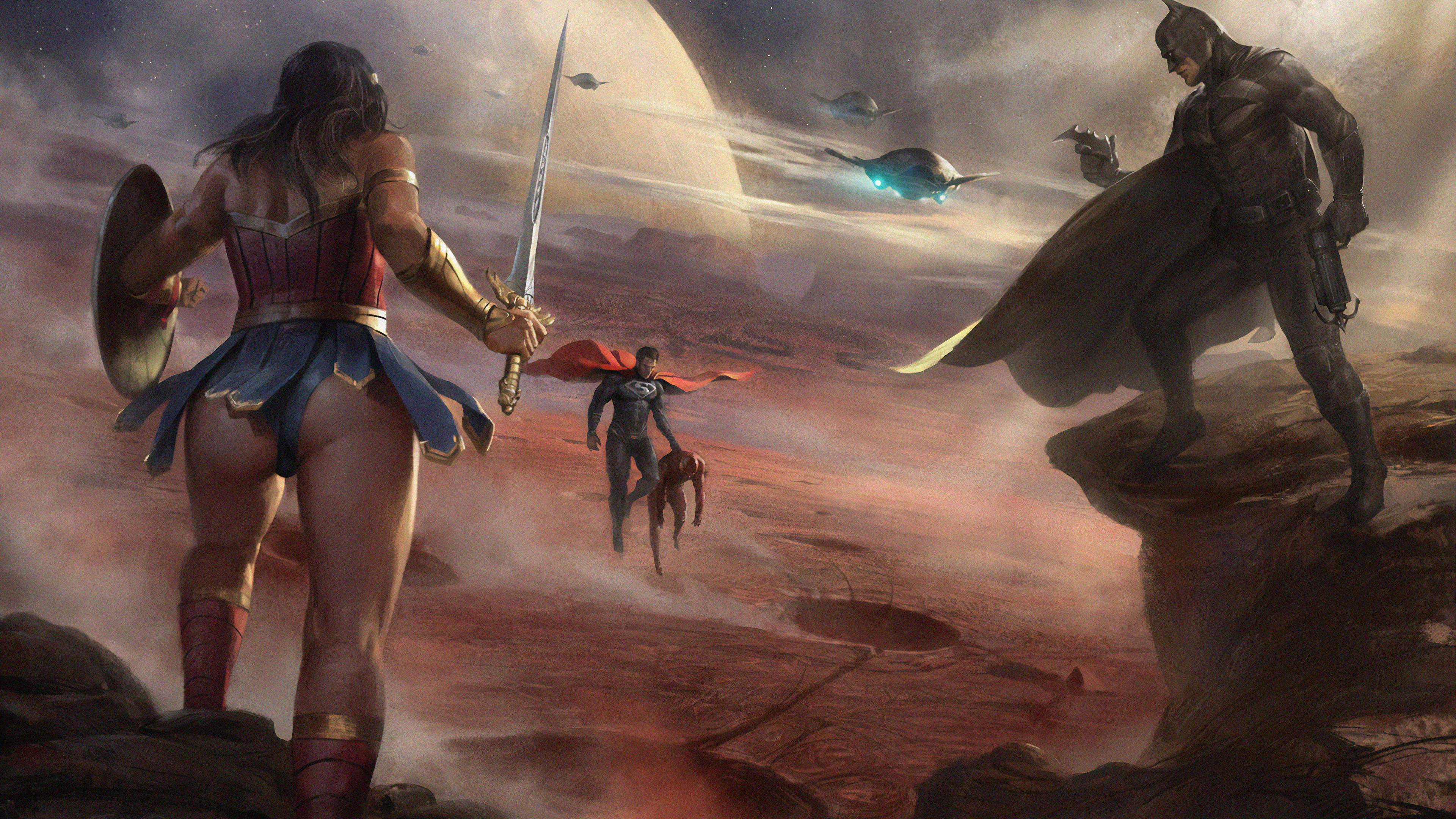 diana and bruce saving flash from superman 1563219808 - Diana And Bruce Saving Flash From Superman - wonder woman wallpapers, superman wallpapers, superheroes wallpapers, hd-wallpapers, digital art wallpapers, batman wallpapers, 4k-wallpapers
