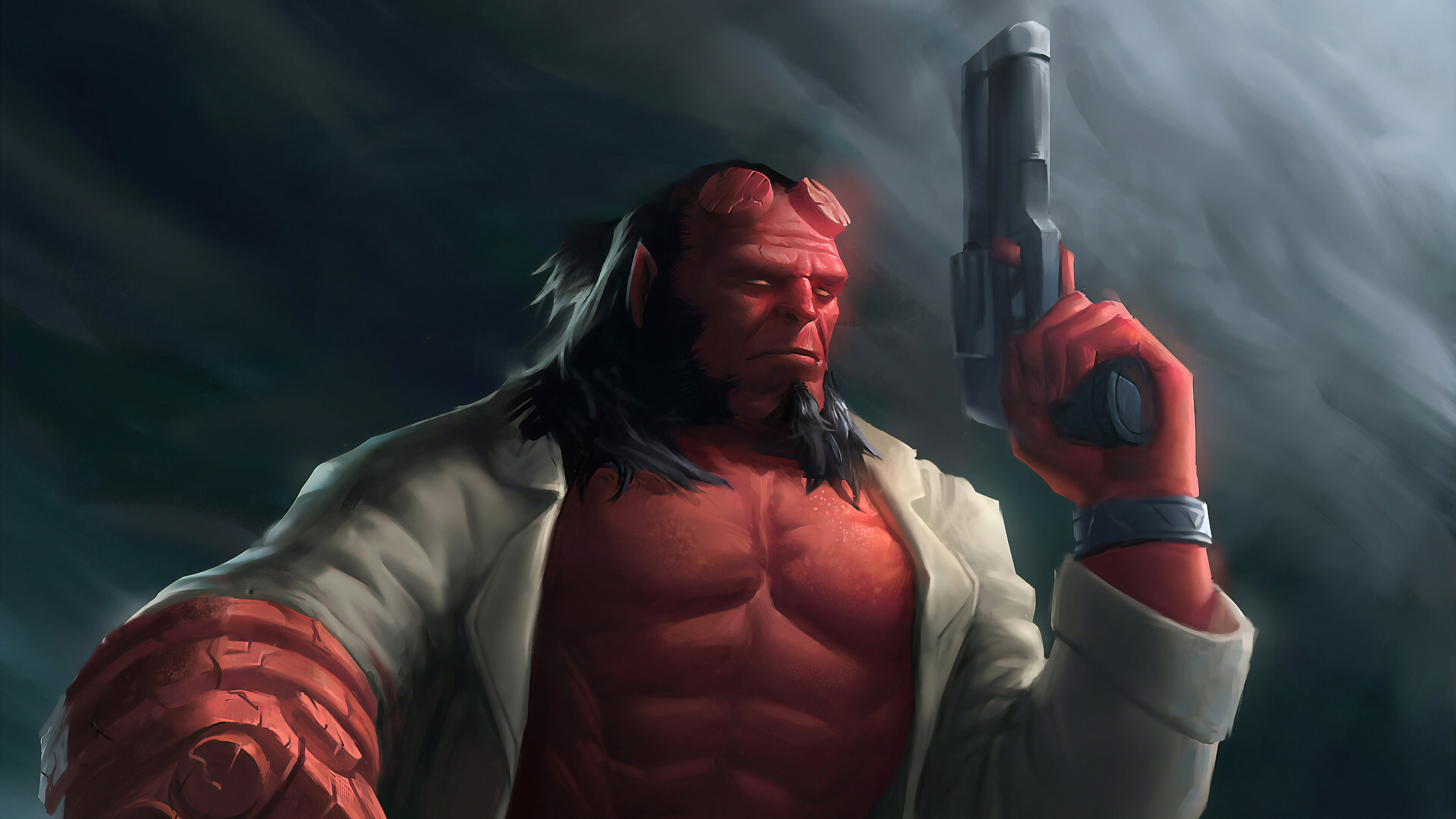 hellboy with gun 1562106131 - Hellboy With Gun - superheroes wallpapers, hellboy wallpapers, hd-wallpapers, digital art wallpapers, artwork wallpapers, art wallpapers, 4k-wallpapers