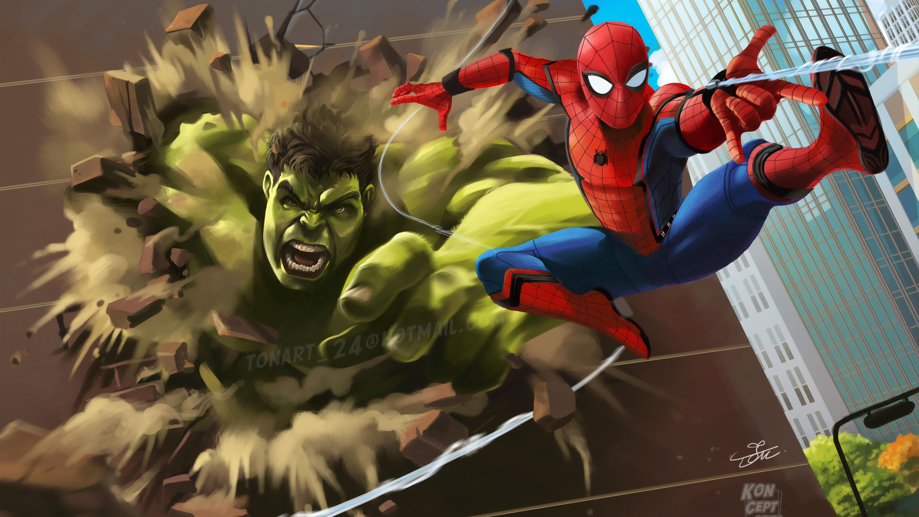 Wallpaper 4k Hulk Vs Spiderman 4k Wallpapers Artstation