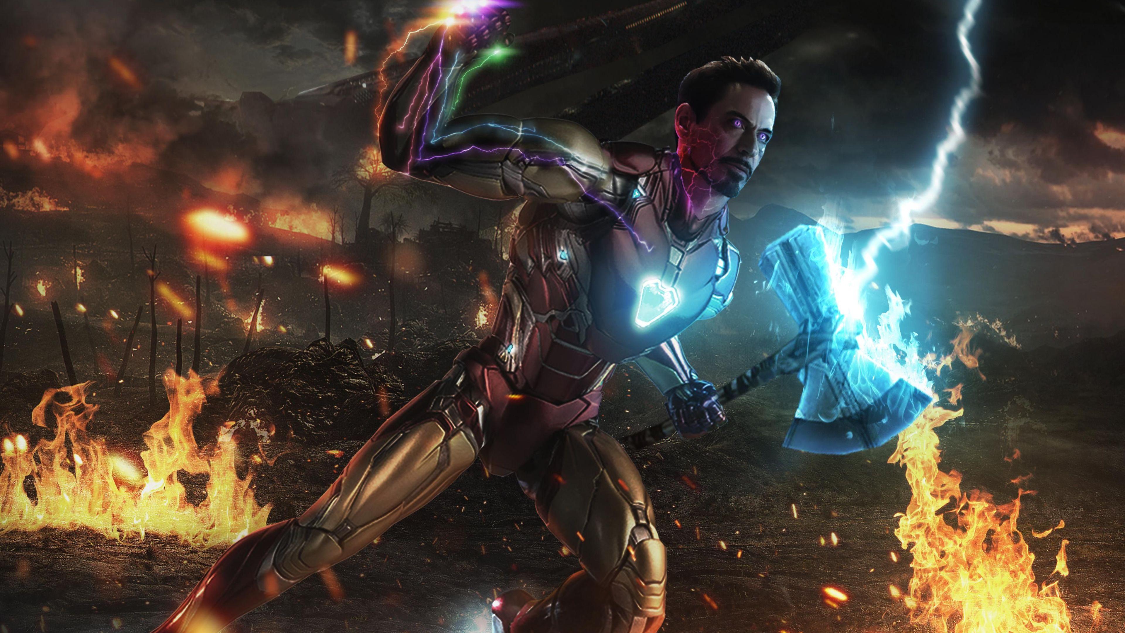 iron man stormbreaker with infinity gauntlet 1562105905 - Iron Man Stormbreaker With Infinity Gauntlet - superheroes wallpapers, iron man wallpapers, hd-wallpapers, digital art wallpapers, artwork wallpapers, 4k-wallpapers