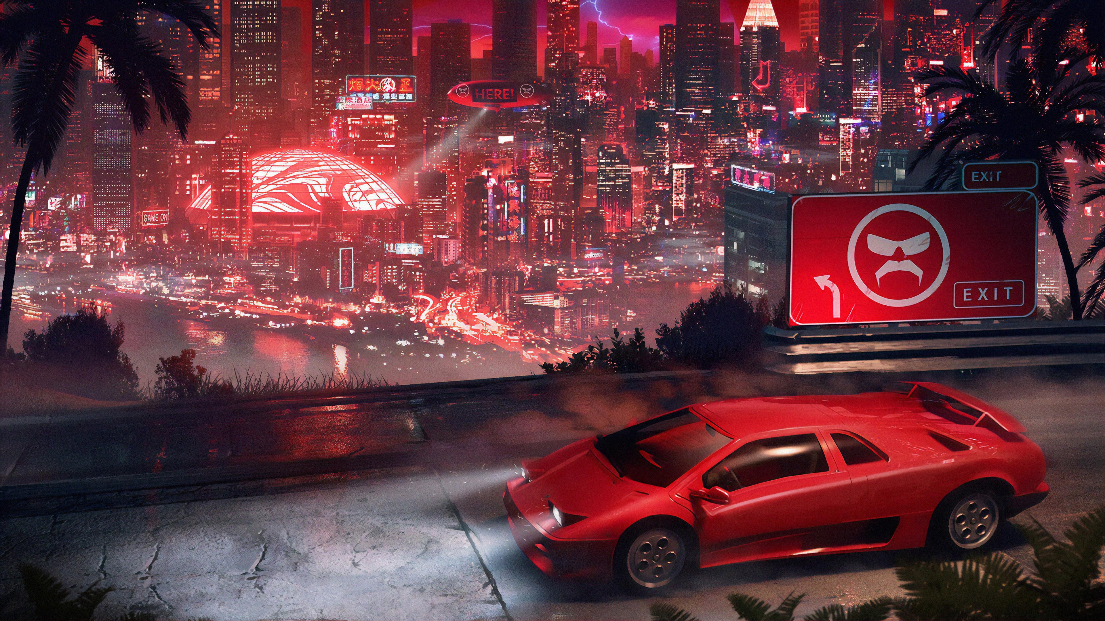 lamborghini city cyberpunk 1563222124 - Lamborghini City Cyberpunk - lamborghini wallpapers, hd-wallpapers, digital art wallpapers, cars wallpapers, artwork wallpapers, artstation wallpapers, artist wallpapers, 4k-wallpapers