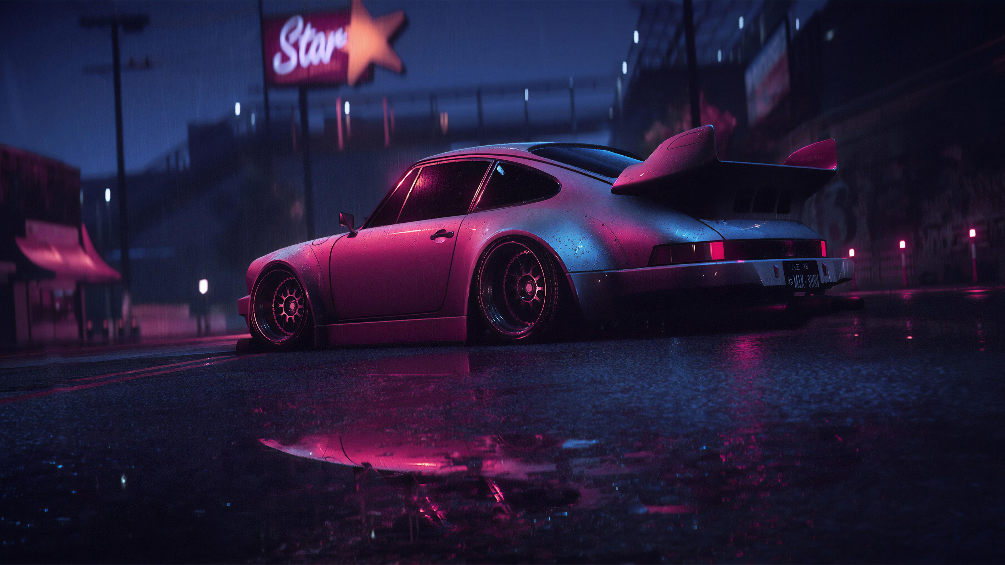 porsche 911 carrera rsr neon reflection 1562107985 - Porsche 911 Carrera RSR Neon Reflection - porsche wallpapers, porsche 911 wallpapers, hd-wallpapers, digital art wallpapers, cars wallpapers, artwork wallpapers, artstation wallpapers, artist wallpapers, 4k-wallpapers, 2019 cars wallpapers
