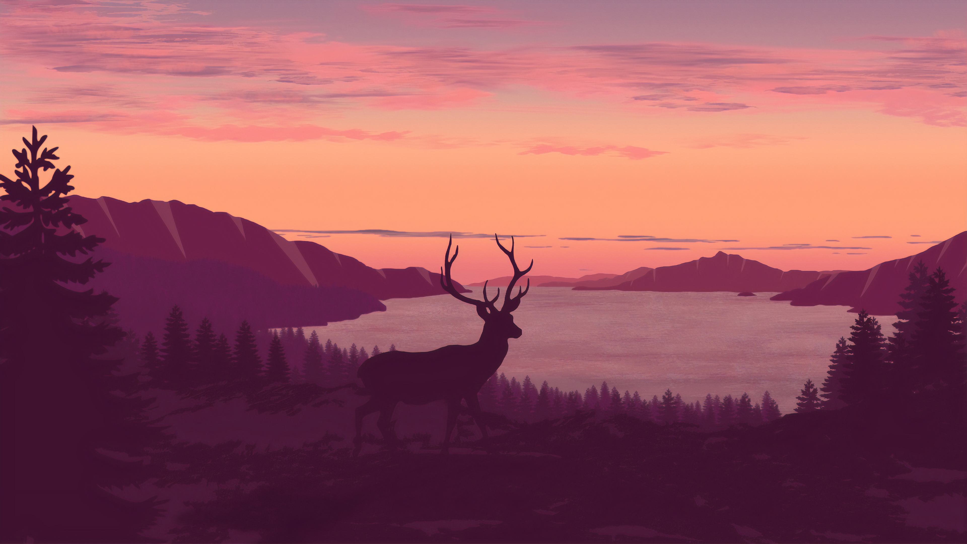 reindeer minimalist call of sunset 1563222130 - Reindeer Minimalist Call Of Sunset - reindeer wallpapers, minimalist wallpapers, minimalism wallpapers, hd-wallpapers, digital art wallpapers, deviantart wallpapers, artwork wallpapers, artist wallpapers, 4k-wallpapers