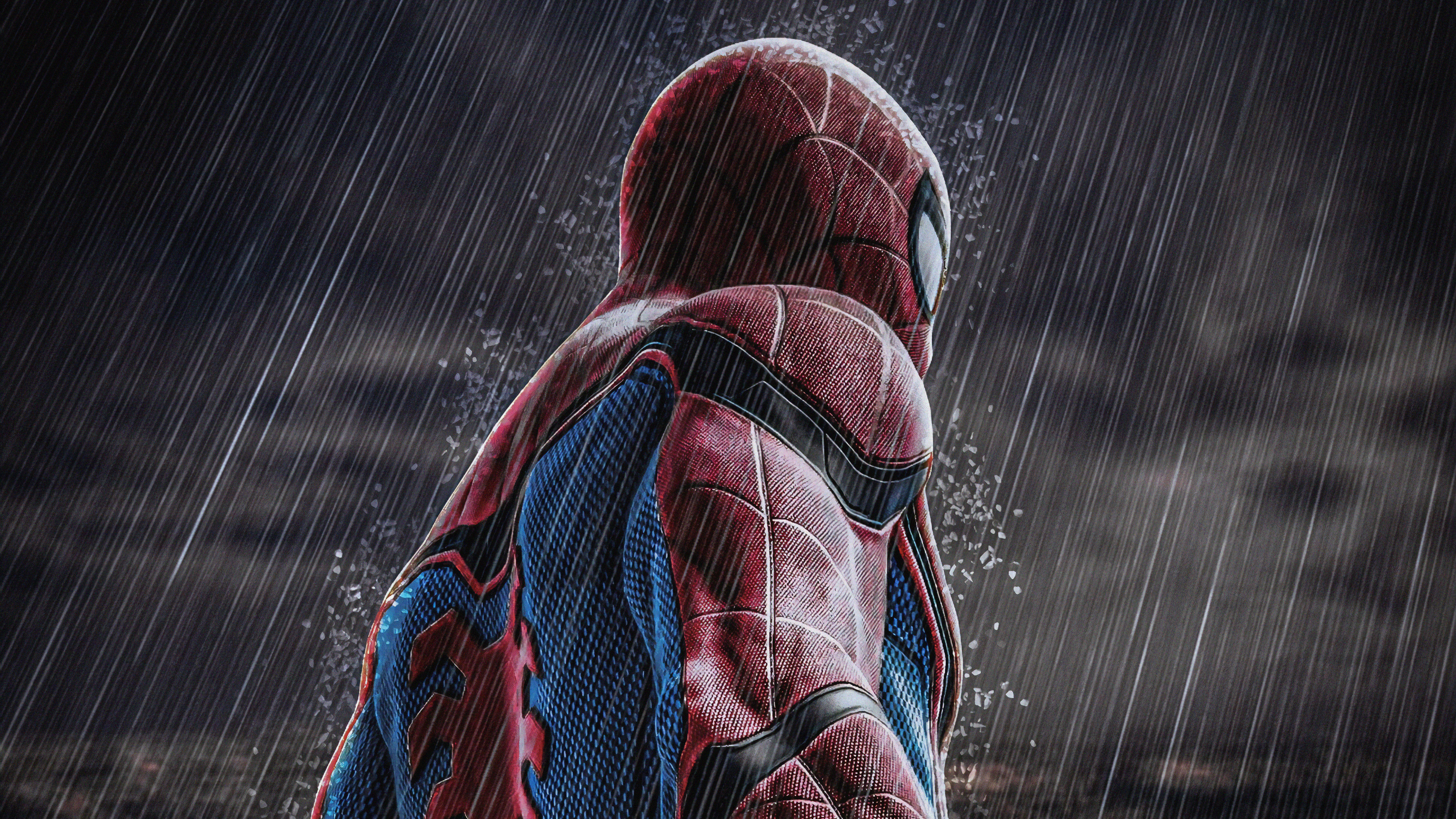 spiderman in rain 1563220061 - Spiderman In Rain - superheroes wallpapers, spiderman wallpapers, hd-wallpapers, digital art wallpapers, artwork wallpapers, art wallpapers, 4k-wallpapers