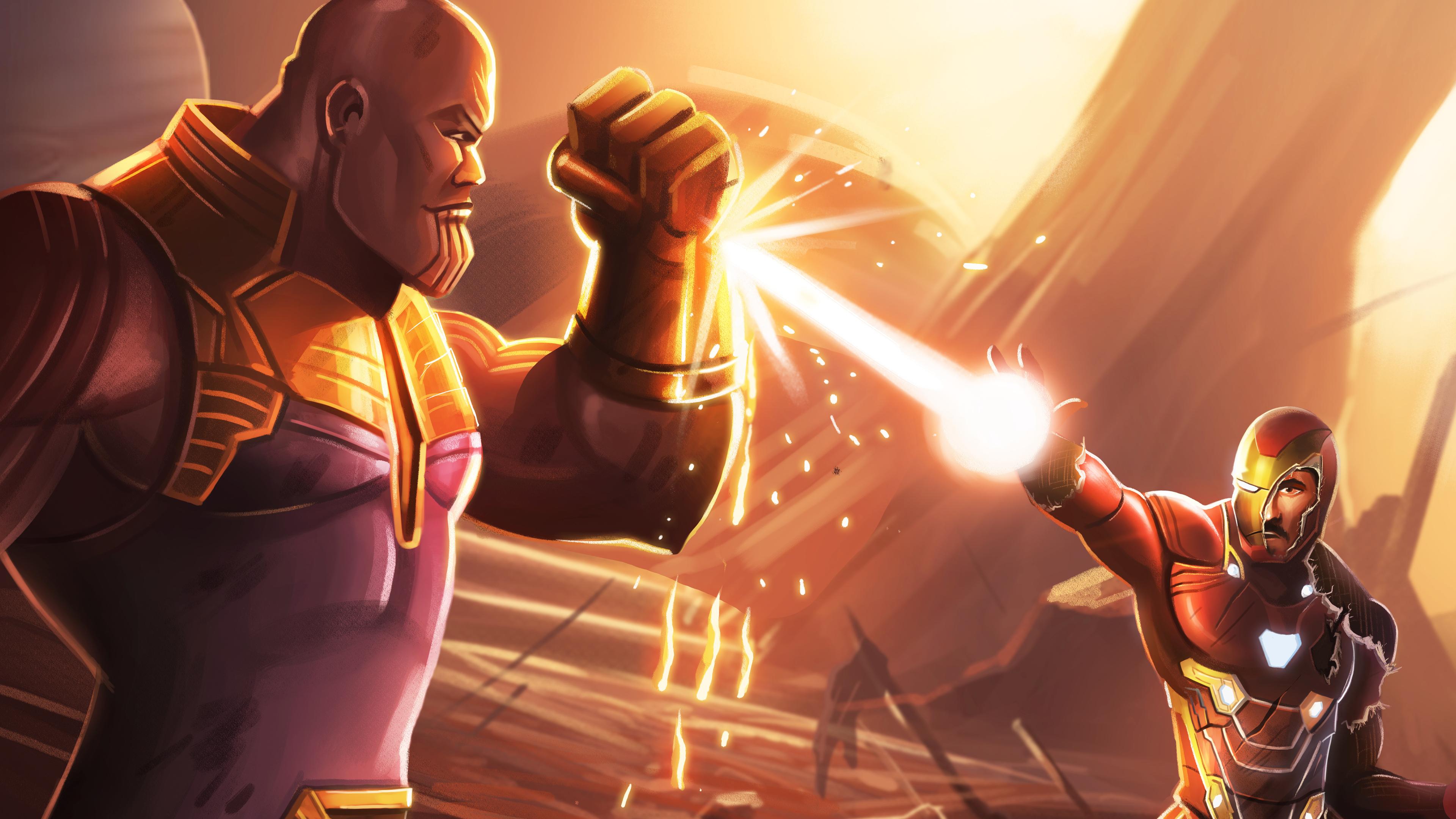 thanos and iron man 1563220149 - Thanos And Iron Man - thanos-wallpapers, superheroes wallpapers, iron man wallpapers, hd-wallpapers, deviantart wallpapers, artwork wallpapers, 5k wallpapers, 4k-wallpapers