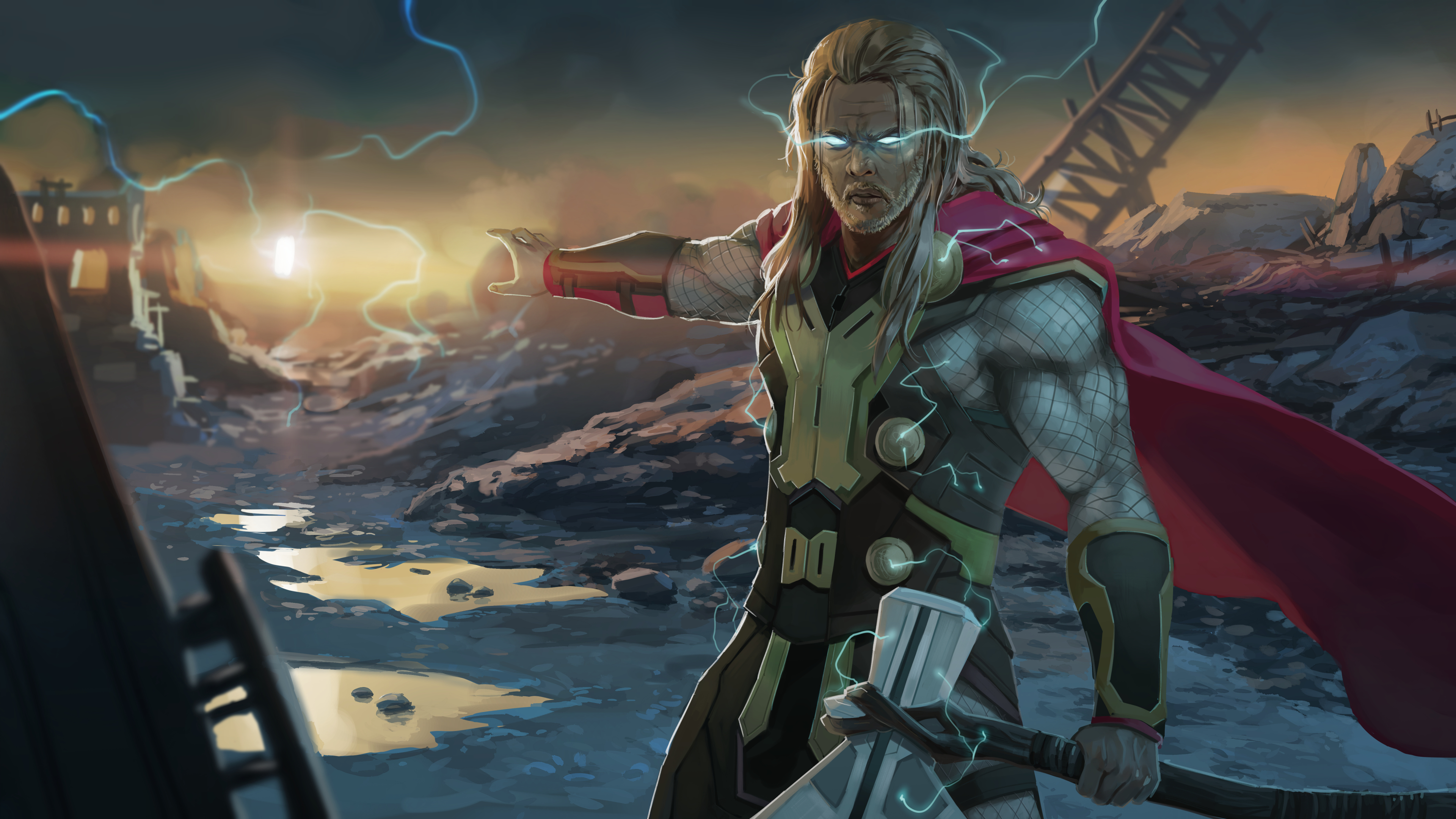 thor with two hammers 1563220034 - Thor With Two Hammers - thor wallpapers, superheroes wallpapers, hd-wallpapers, digital art wallpapers, artwork wallpapers, 4k-wallpapers