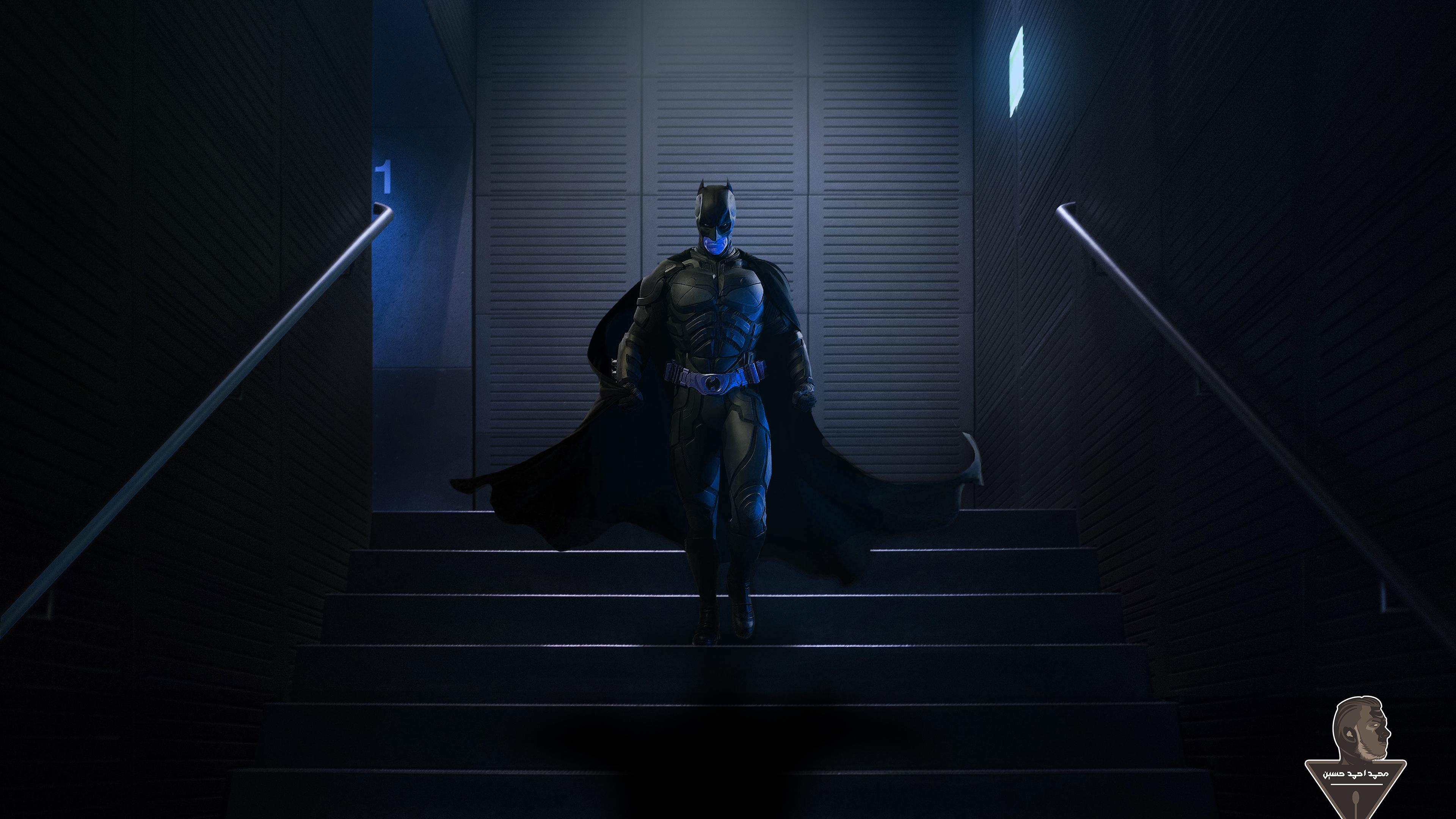 batman walking downstairs 1565052858 - Batman Walking Downstairs - superheroes wallpapers, hd-wallpapers, digital art wallpapers, behance wallpapers, batman wallpapers, artwork wallpapers, artist wallpapers, 4k-wallpapers
