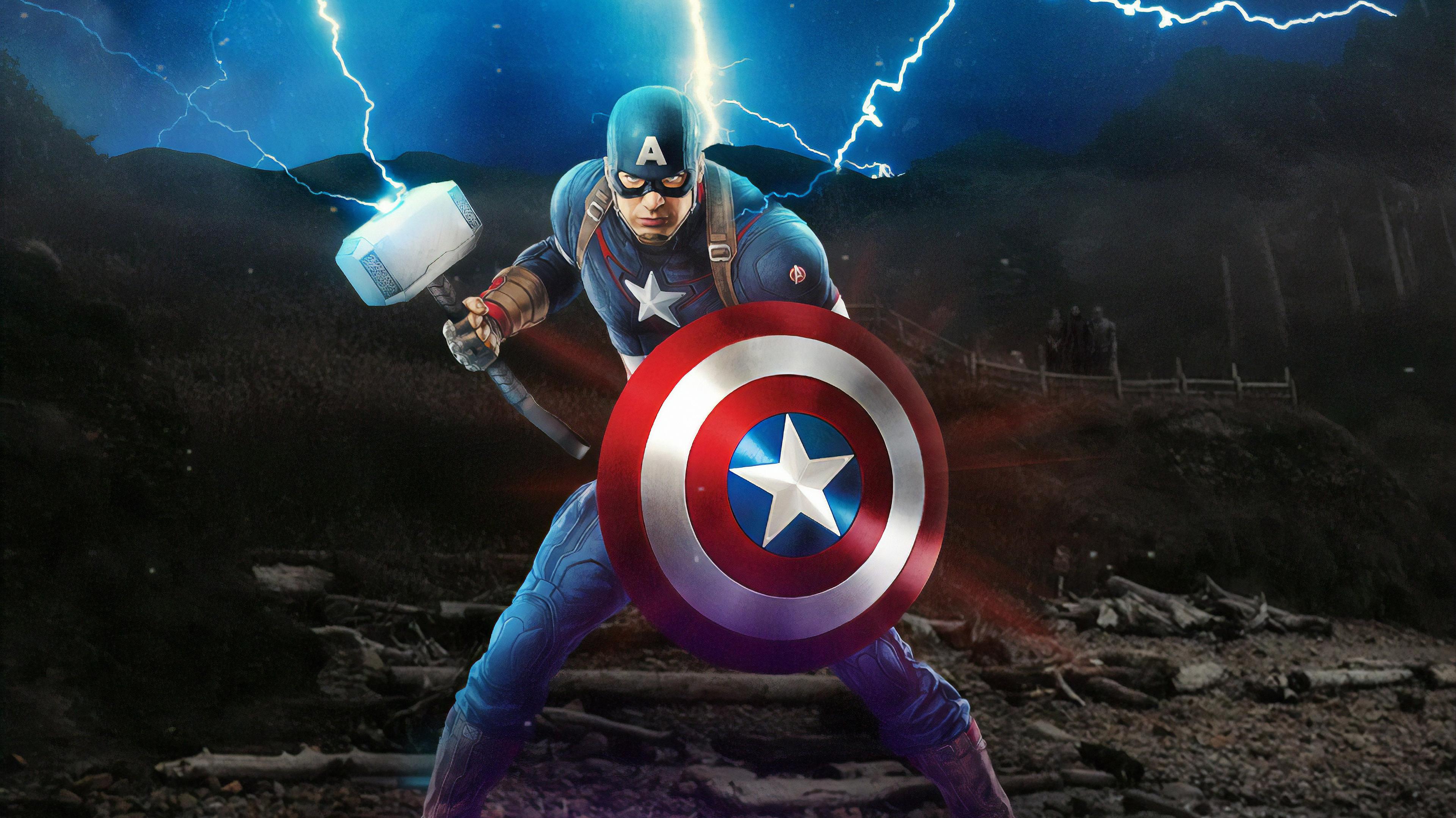 Captain America Mjolnir Avengers Endgame Artwork ...