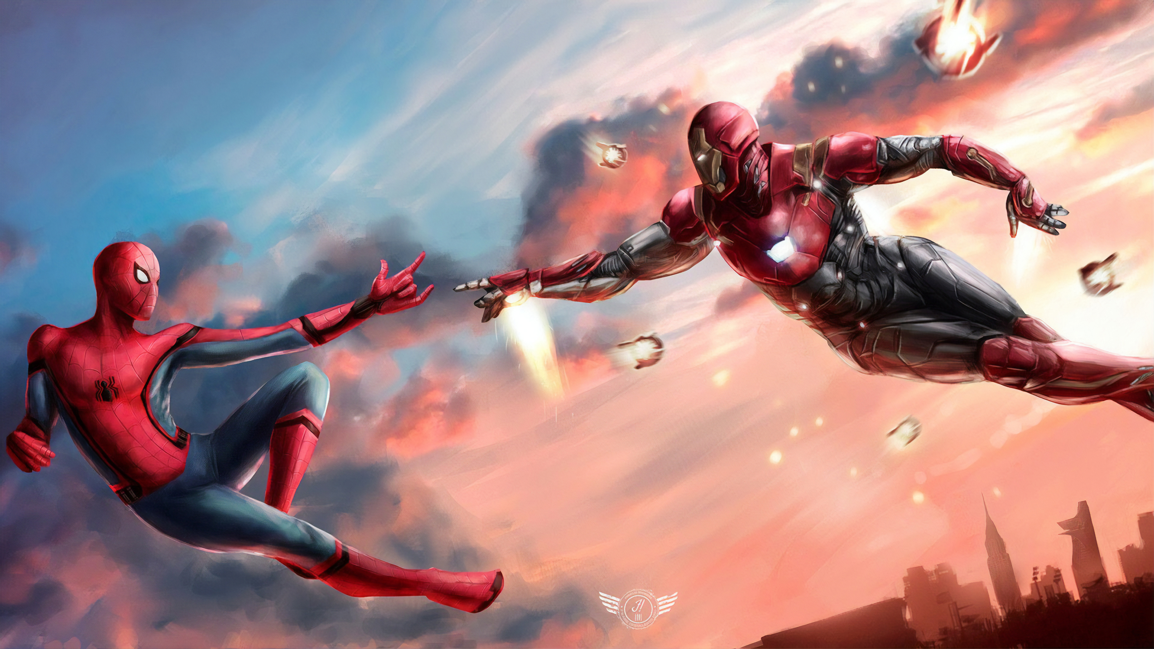 iron man and spiderman united 1565054125 - Iron Man And Spiderman United - superheroes wallpapers, spiderman wallpapers, iron man wallpapers, hd-wallpapers, 4k-wallpapers