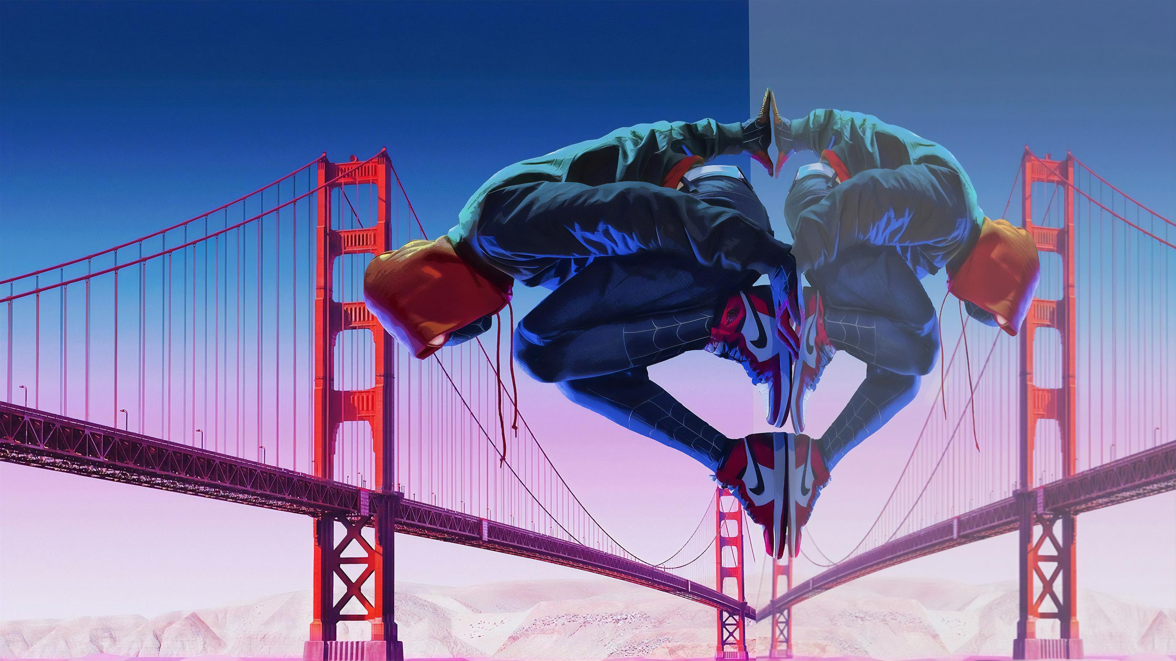 spiderman golden gate bridge 1565053265 - Spiderman Golden Gate Bridge - superheroes wallpapers, spiderman wallpapers, hd-wallpapers, digital art wallpapers, behance wallpapers, artwork wallpapers, artist wallpapers, 4k-wallpapers