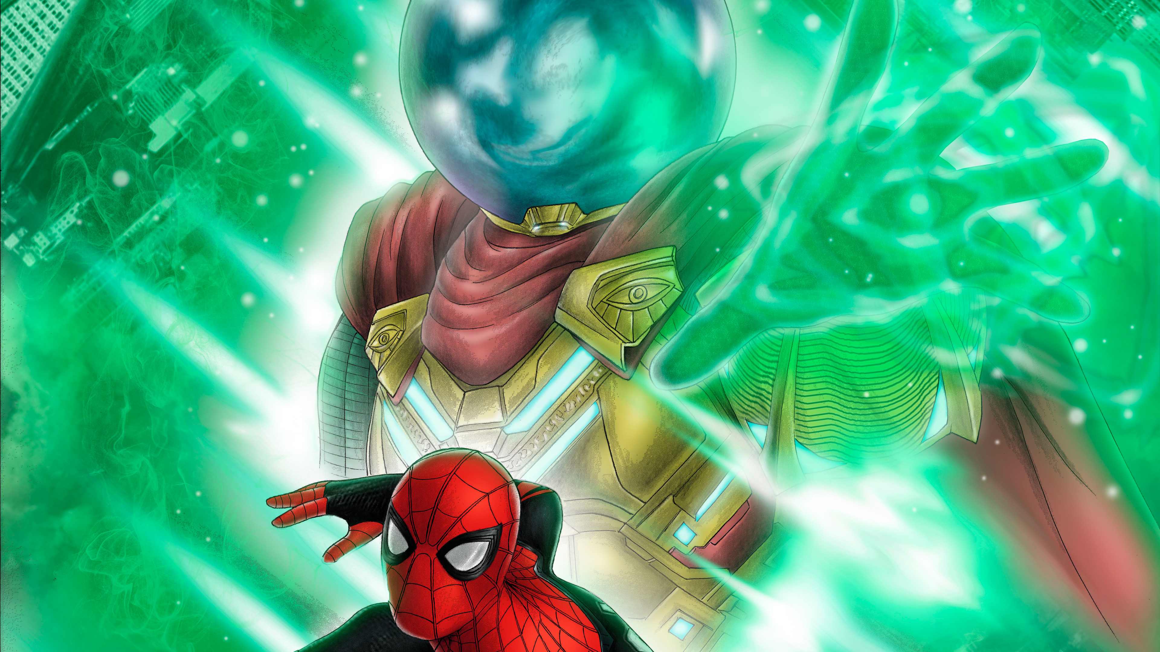 spiderman vs mysterio 2019 1565053435 - Spiderman Vs Mysterio 2019 - superheroes wallpapers, spiderman wallpapers, mysterio wallpapers, hd-wallpapers, 8k wallpapers, 5k wallpapers, 4k-wallpapers
