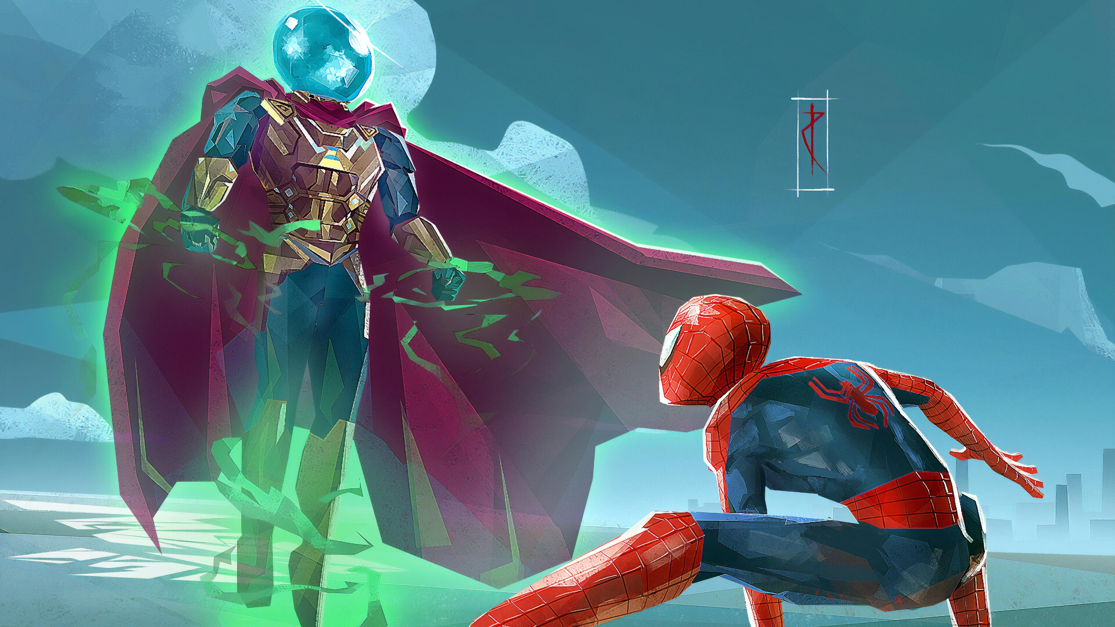 spiderman vs mysterio art 1565053621 - Spiderman Vs Mysterio Art - superheroes wallpapers, spiderman wallpapers, mysterio wallpapers, hd-wallpapers, digital art wallpapers, artwork wallpapers, artstation wallpapers