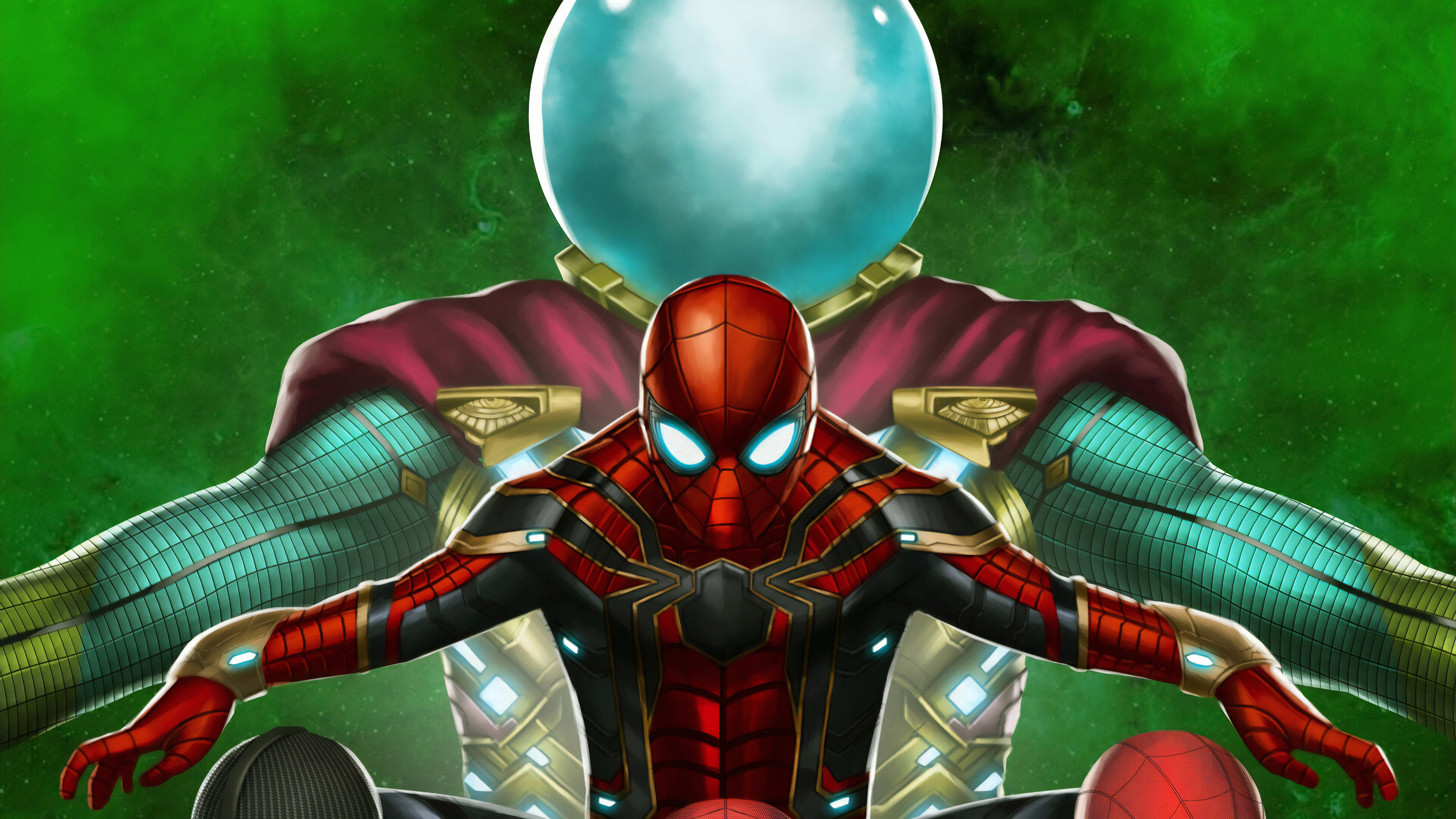 spiderman vs mysterio new 1565053596 - Spiderman Vs Mysterio New - superheroes wallpapers, spiderman wallpapers, spiderman far from home wallpapers, mysterio wallpapers, hd-wallpapers, digital art wallpapers, artwork wallpapers, 4k-wallpapers