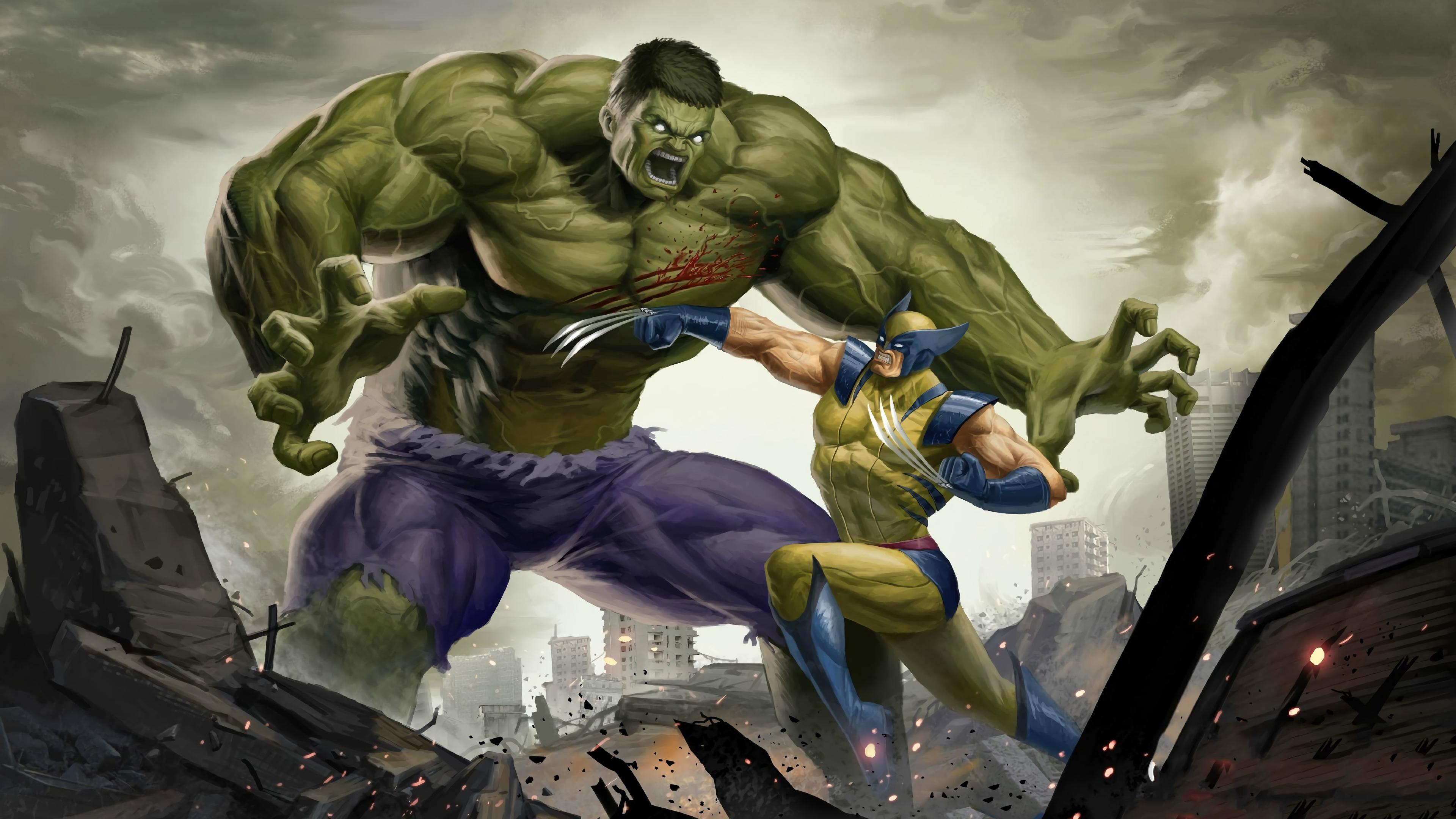 Wallpaper 4k Art Hulk Vs Wolverine 4k Wallpapers Artwork