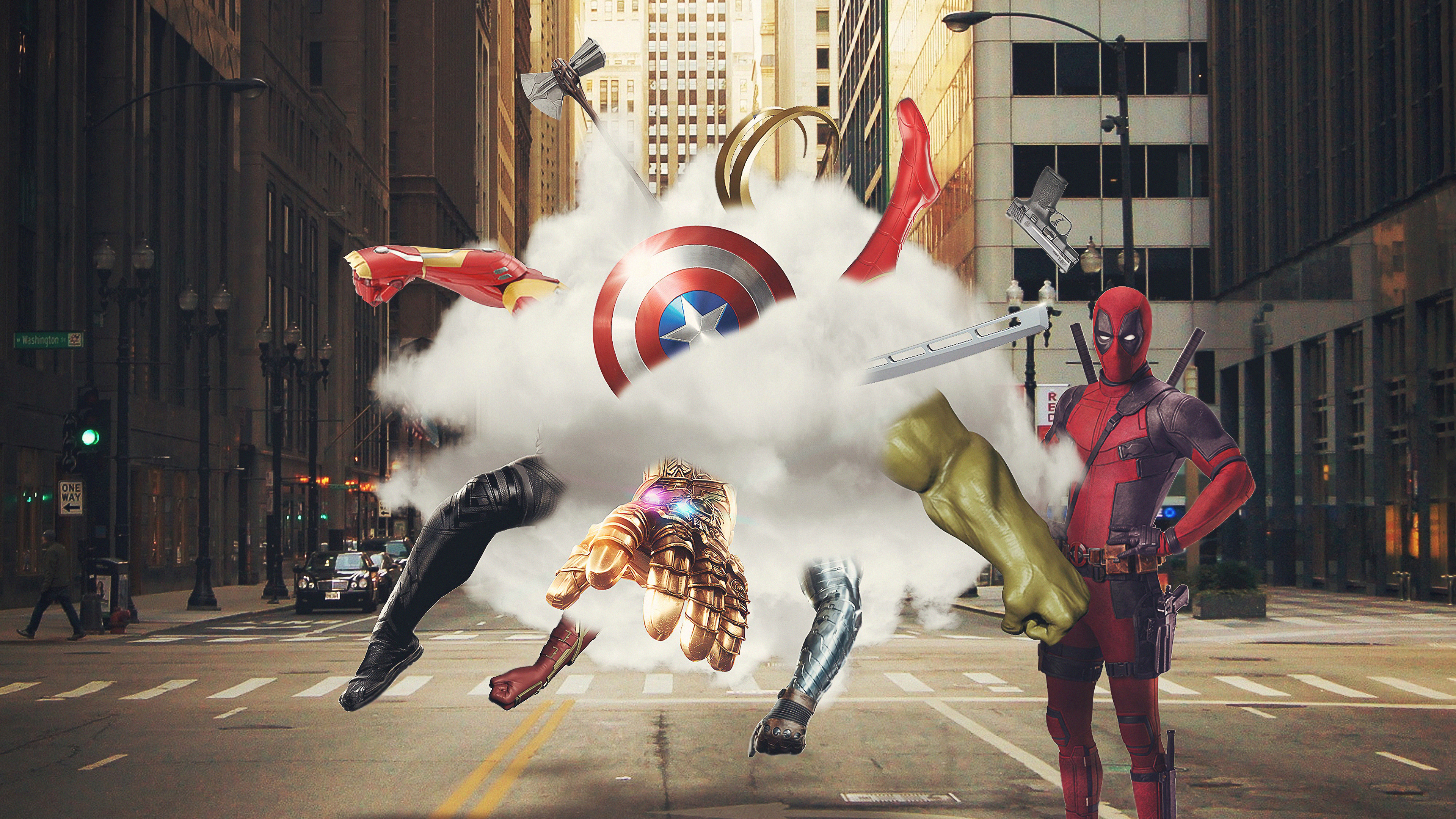 avengers and deadpool 1569186754 - Avengers And Deadpool - superheroes wallpapers, hd-wallpapers, deadpool wallpapers, behance wallpapers, avengers-wallpapers, artwork wallpapers, 4k-wallpapers