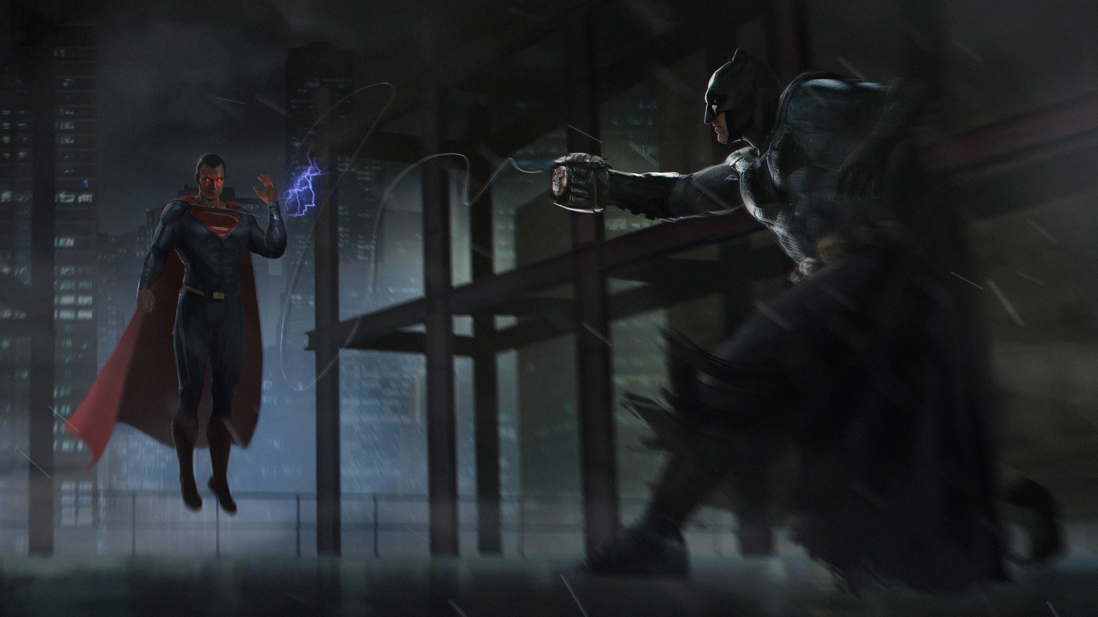 Wallpaper 4k Batman Vs Superman Fight Fan Art 4k Wallpapers