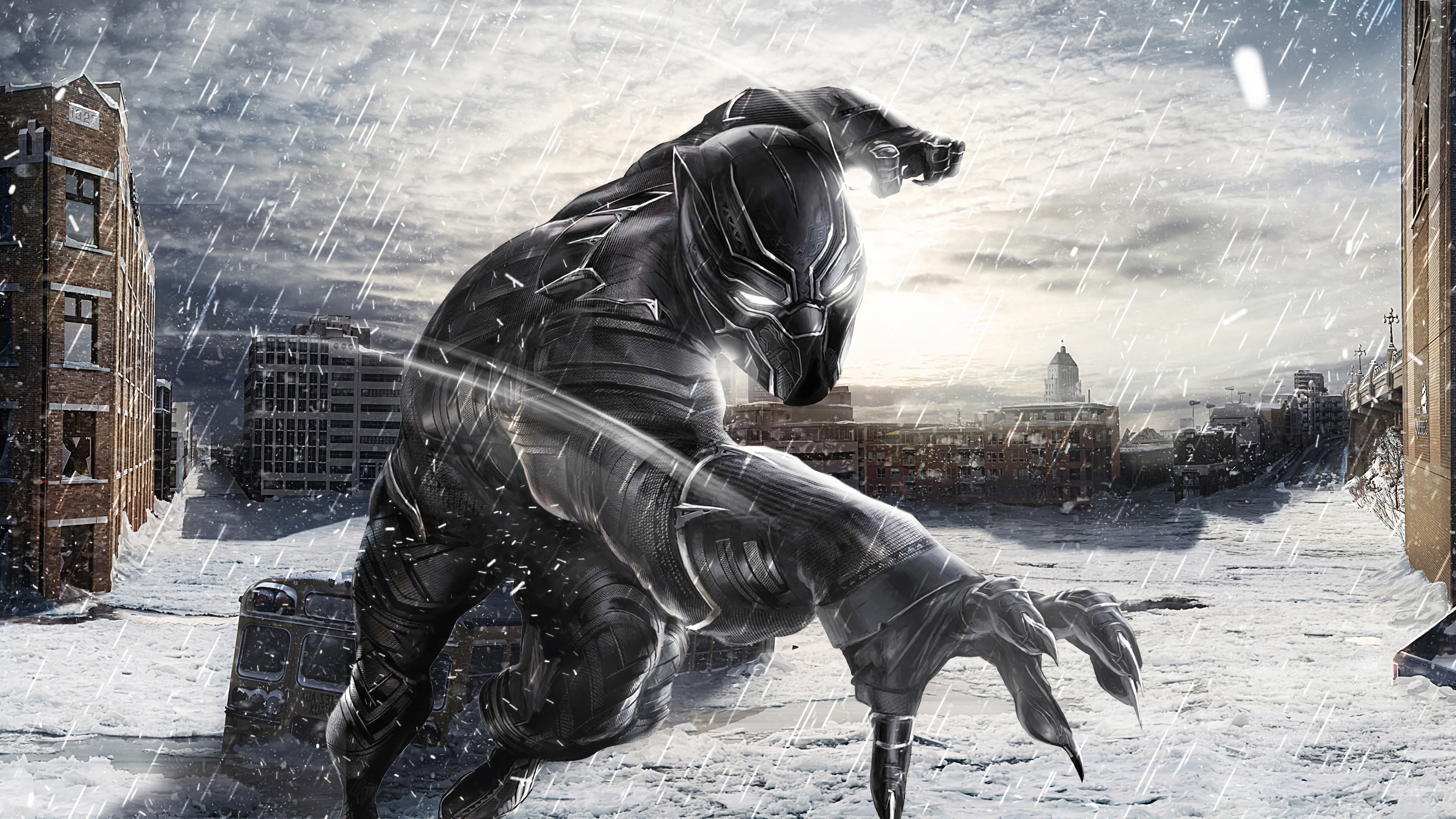 black panther in snow 1568055381 - Black Panther In Snow - superheroes wallpapers, hd-wallpapers, deviantart wallpapers, black panther wallpapers, artwork wallpapers, 4k-wallpapers