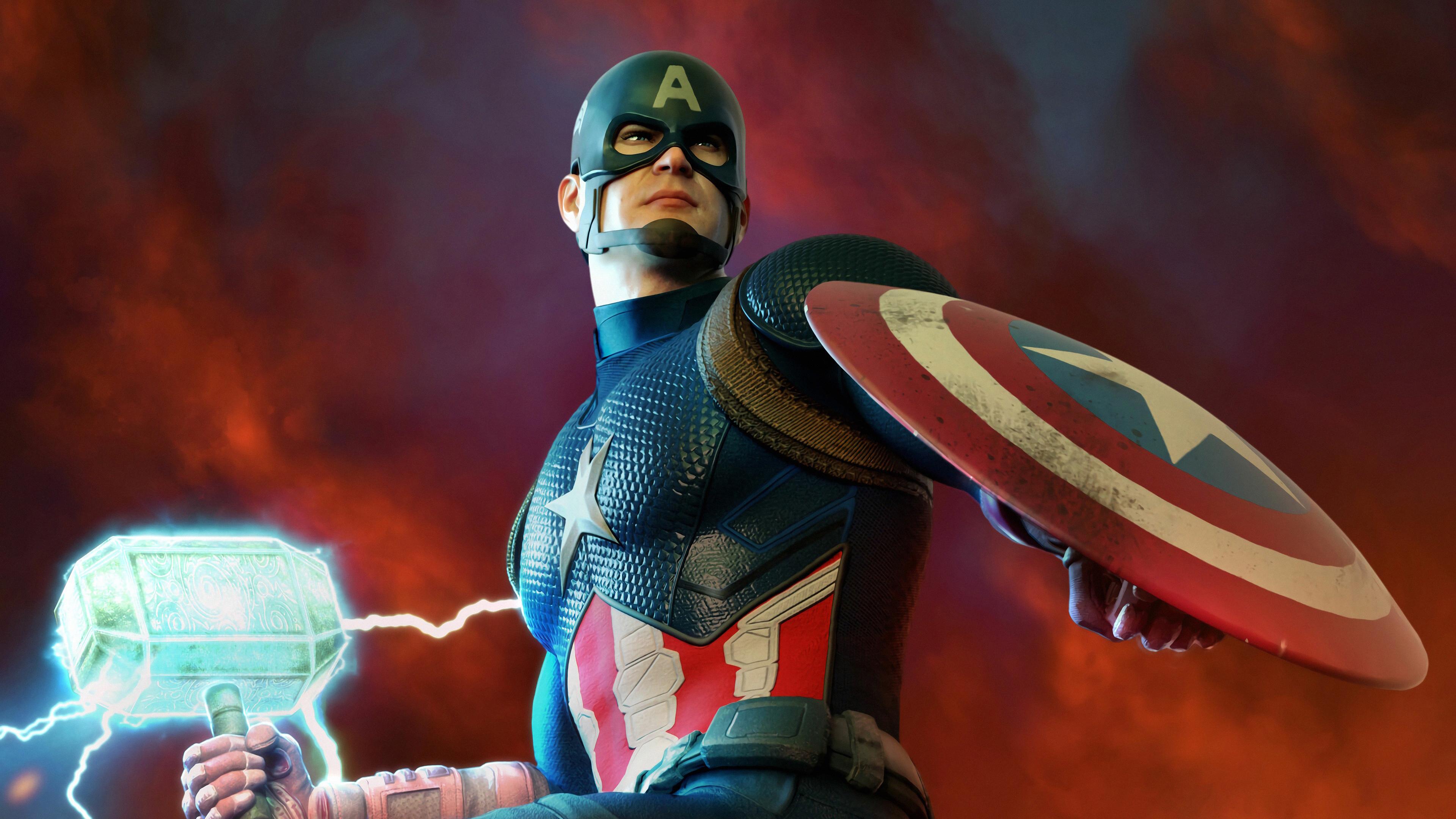 captain america mjolnir and shield 1569186541 - Captain America Mjolnir And Shield - superheroes wallpapers, hd-wallpapers, captain america wallpapers, artwork wallpapers, 4k-wallpapers