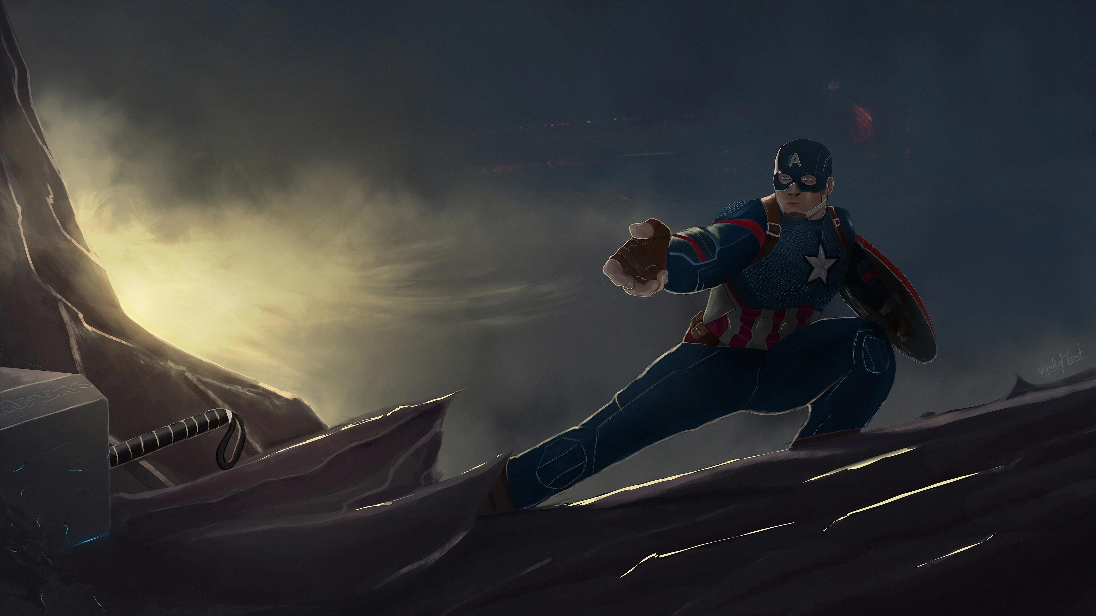 captain america mjolnir and shield 1569186552 - Captain America Mjolnir And Shield - superheroes wallpapers, hd-wallpapers, digital art wallpapers, captain america wallpapers, artwork wallpapers, artstation wallpapers, 4k-wallpapers