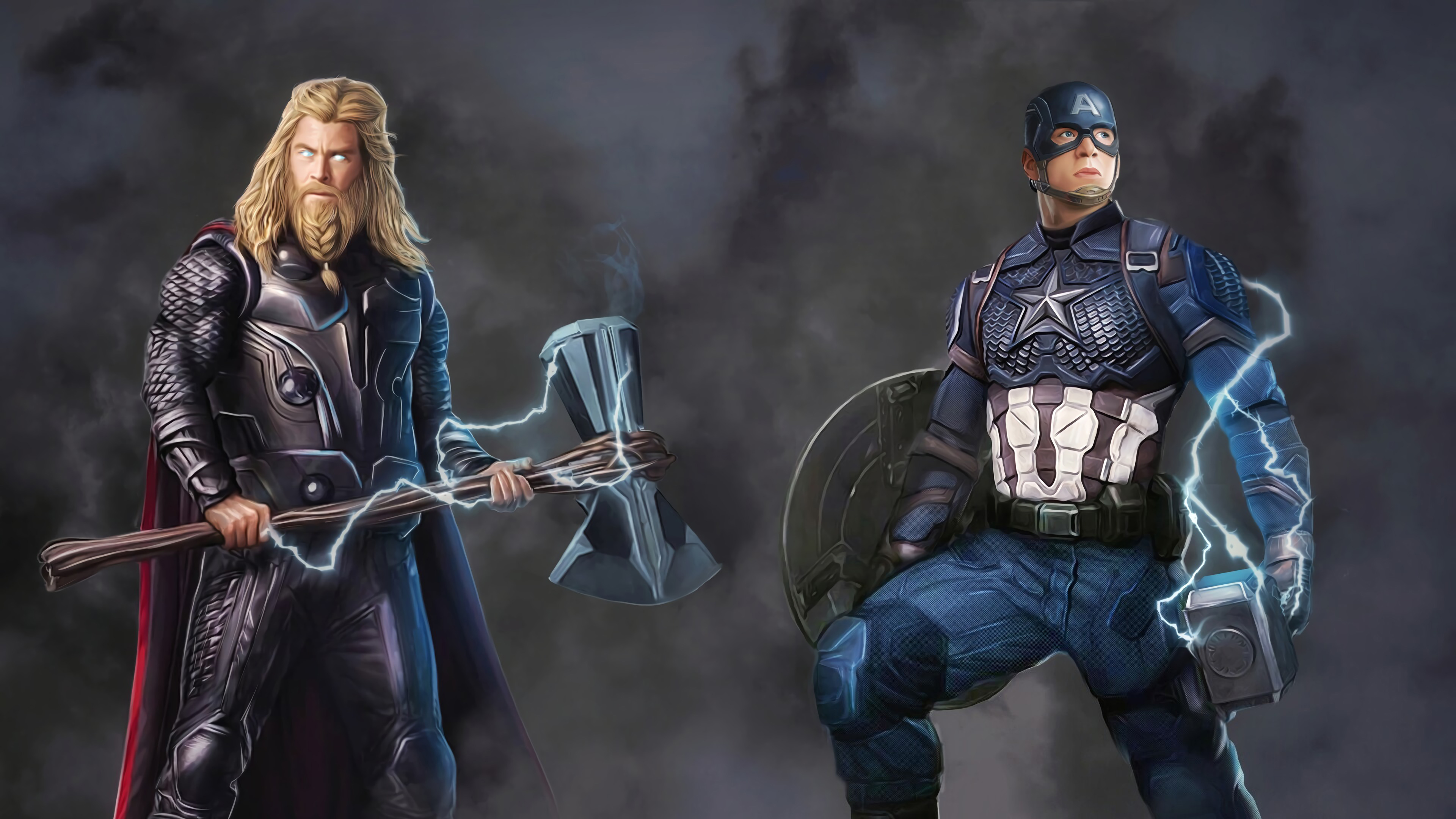 captain and thor 1569186531 - Captain And Thor - thor wallpapers, superheroes wallpapers, hd-wallpapers, digital art wallpapers, captain america wallpapers, artwork wallpapers, 4k-wallpapers