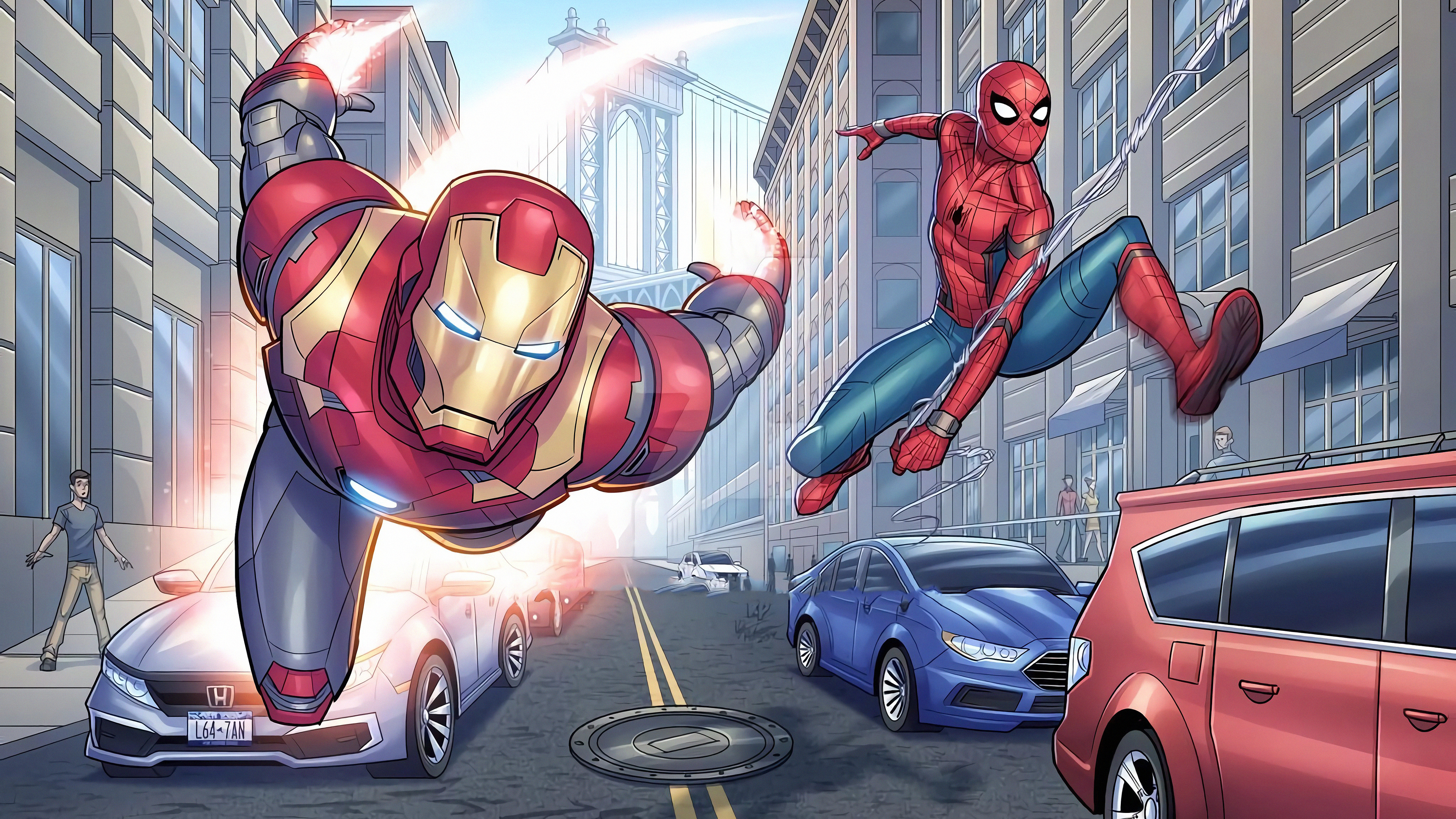 ironman spiderman 1569186652 - Ironman Spiderman - superheroes wallpapers, spiderman wallpapers, iron man wallpapers, hd-wallpapers, digital art wallpapers, artwork wallpapers, 4k-wallpapers