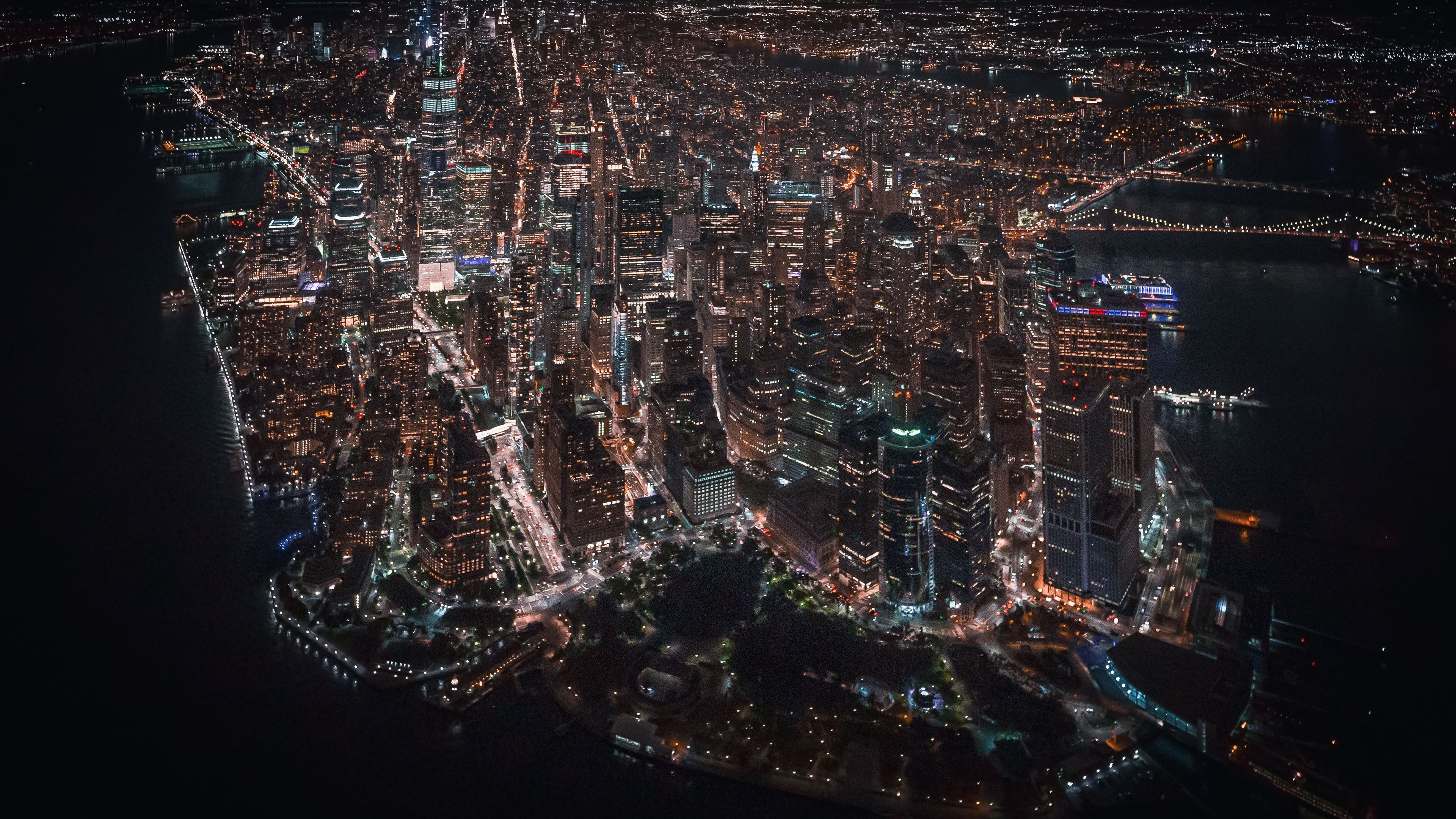 Wallpaper 4k Nyc Downtown Helicopter View 4k Wallpapers Buildings Wallpapers Hd Wallpapers New York Wallpapers Night Wallpapers World Wallpapers