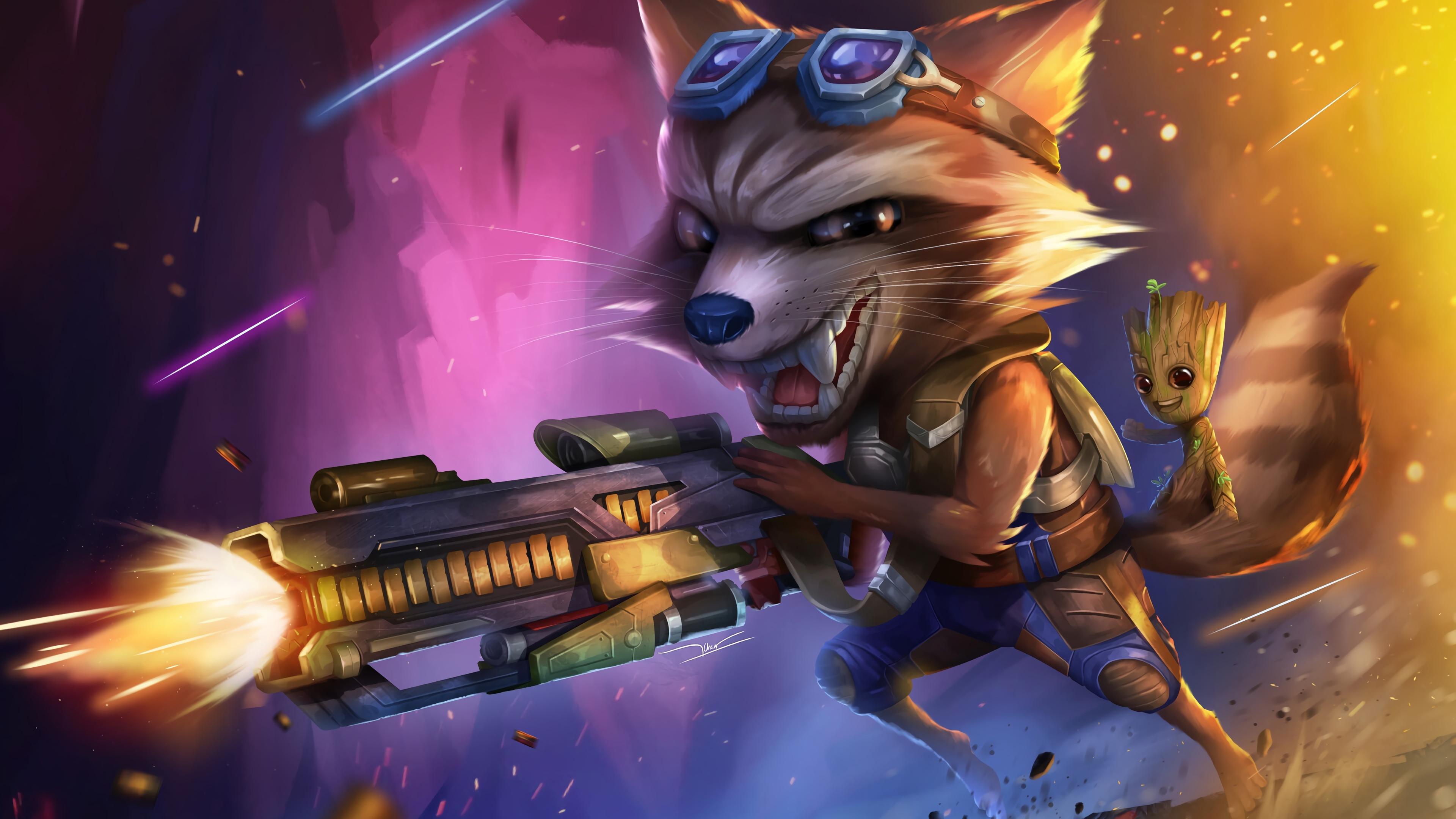 Wallpaper 4k Rocket Raccoon With Baby Groot 4k Wallpapers
