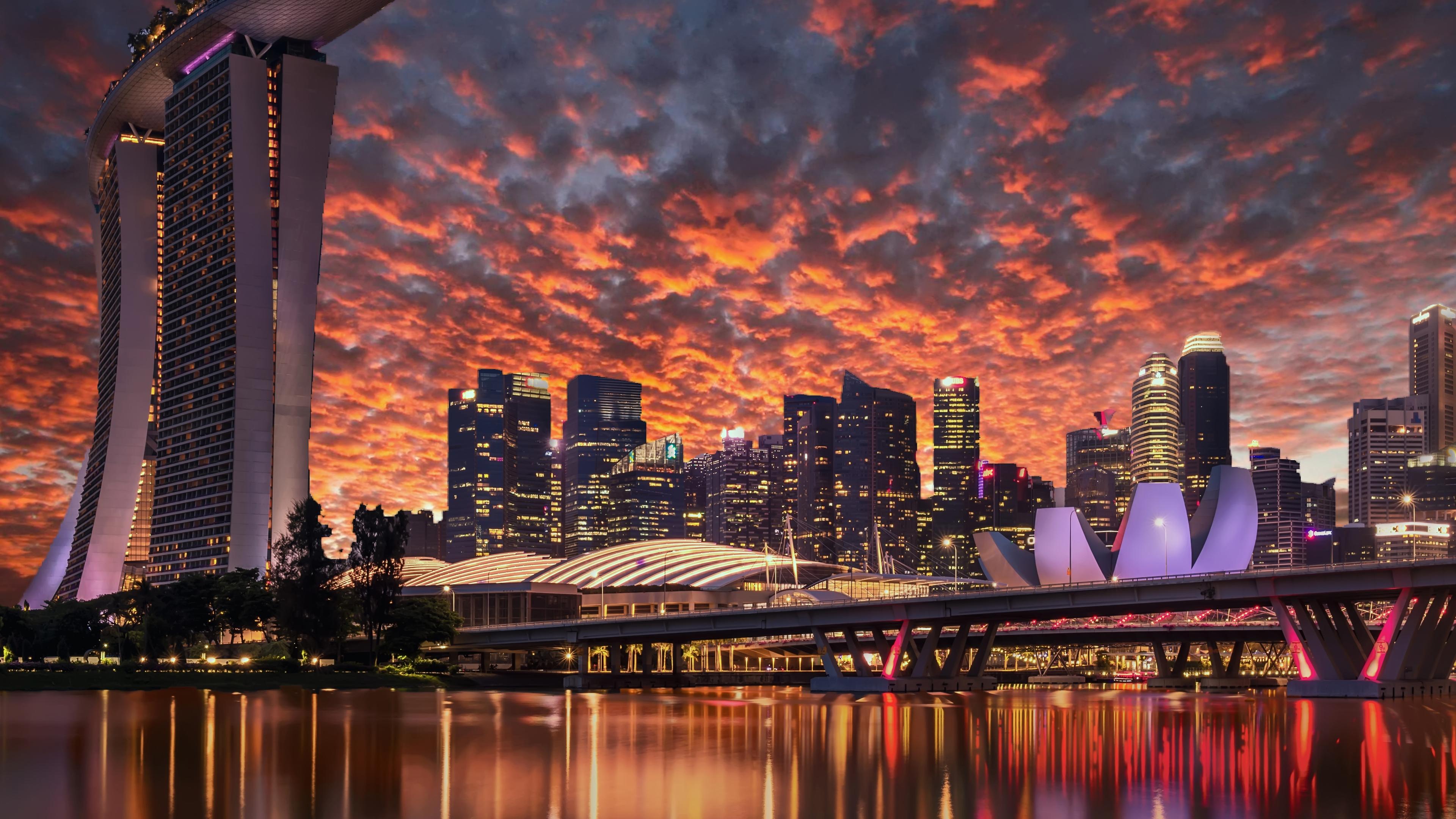 singapore skyscrapers marina bay sands evening 1569187783 - Singapore Skyscrapers Marina Bay Sands Evening - world wallpapers, singapore wallpapers, hd-wallpapers, city wallpapers, 4k-wallpapers