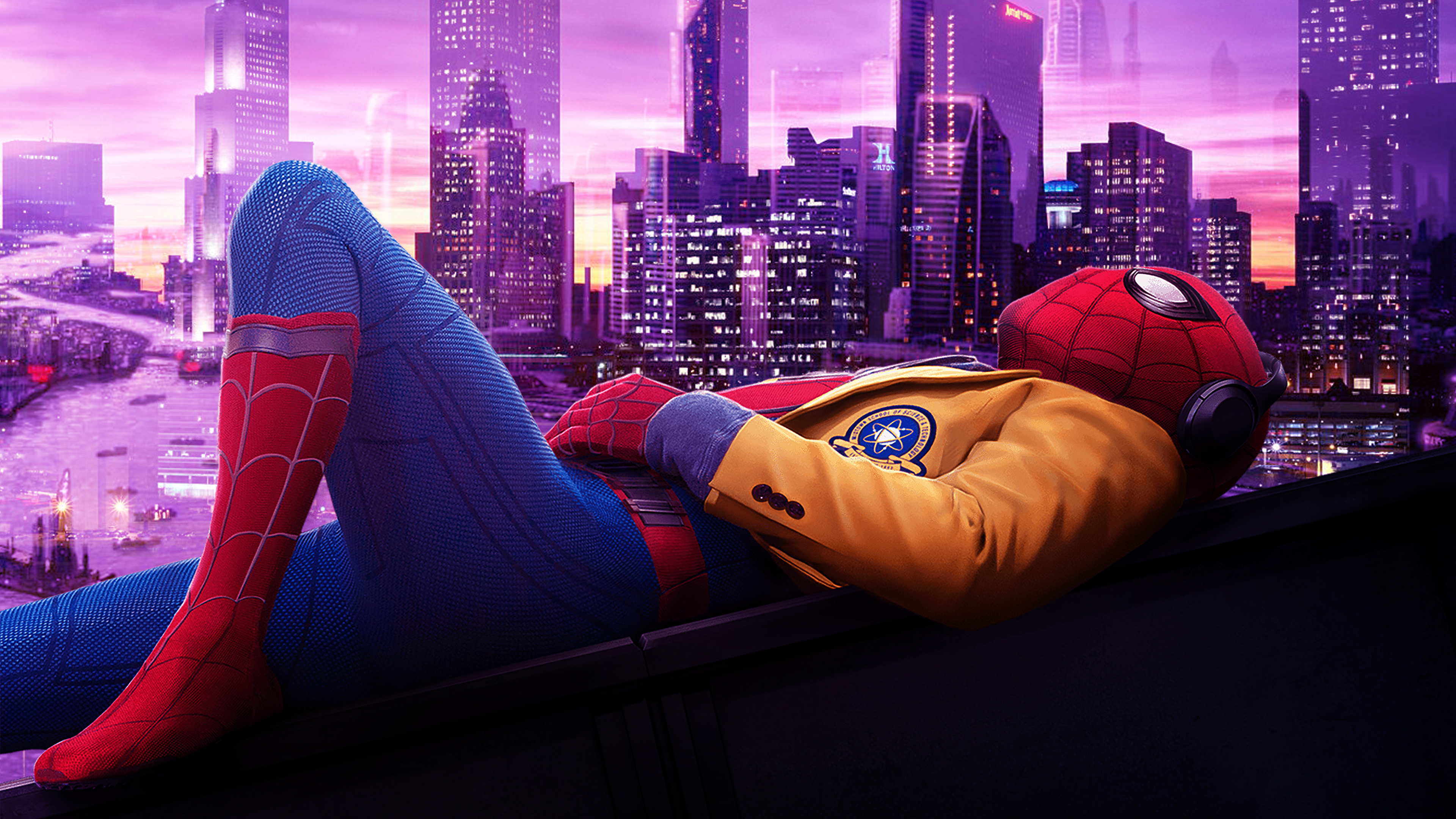 spiderman listening music 2019 1568053777 - Spiderman Listening Music 2019 - superheroes wallpapers, spiderman wallpapers, hd-wallpapers, behance wallpapers, artwork wallpapers, 4k-wallpapers