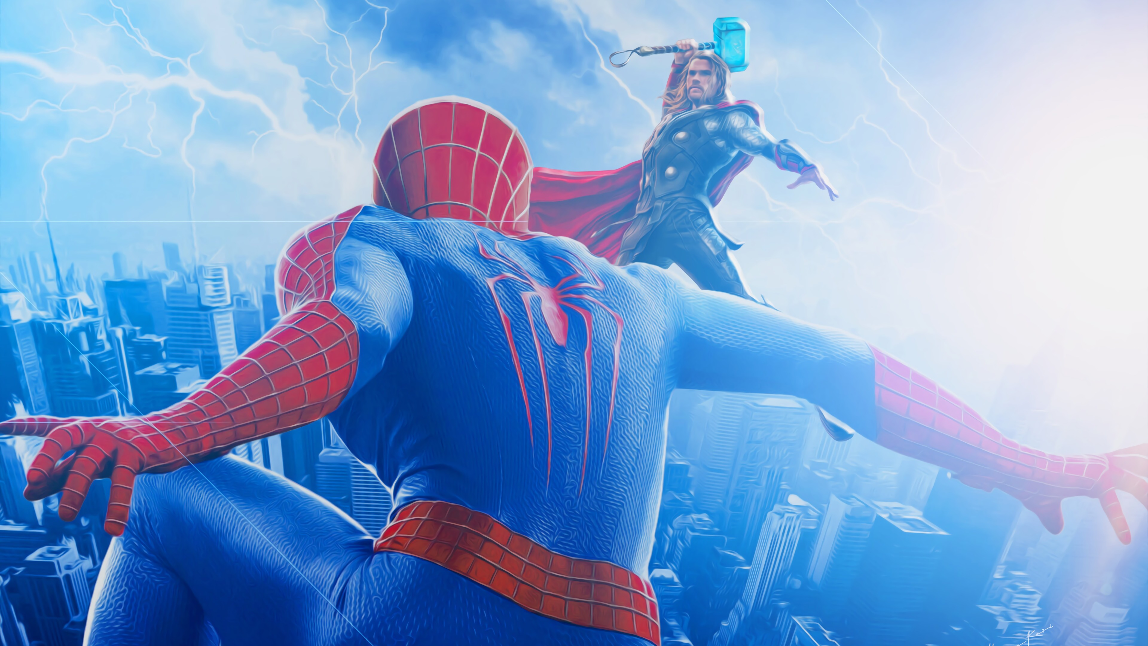spiderman vs thor 1568055133 - Spiderman Vs Thor - thor wallpapers, superheroes wallpapers, spiderman wallpapers, hd-wallpapers, digital art wallpapers, artwork wallpapers, artstation wallpapers, art wallpapers, 4k-wallpapers