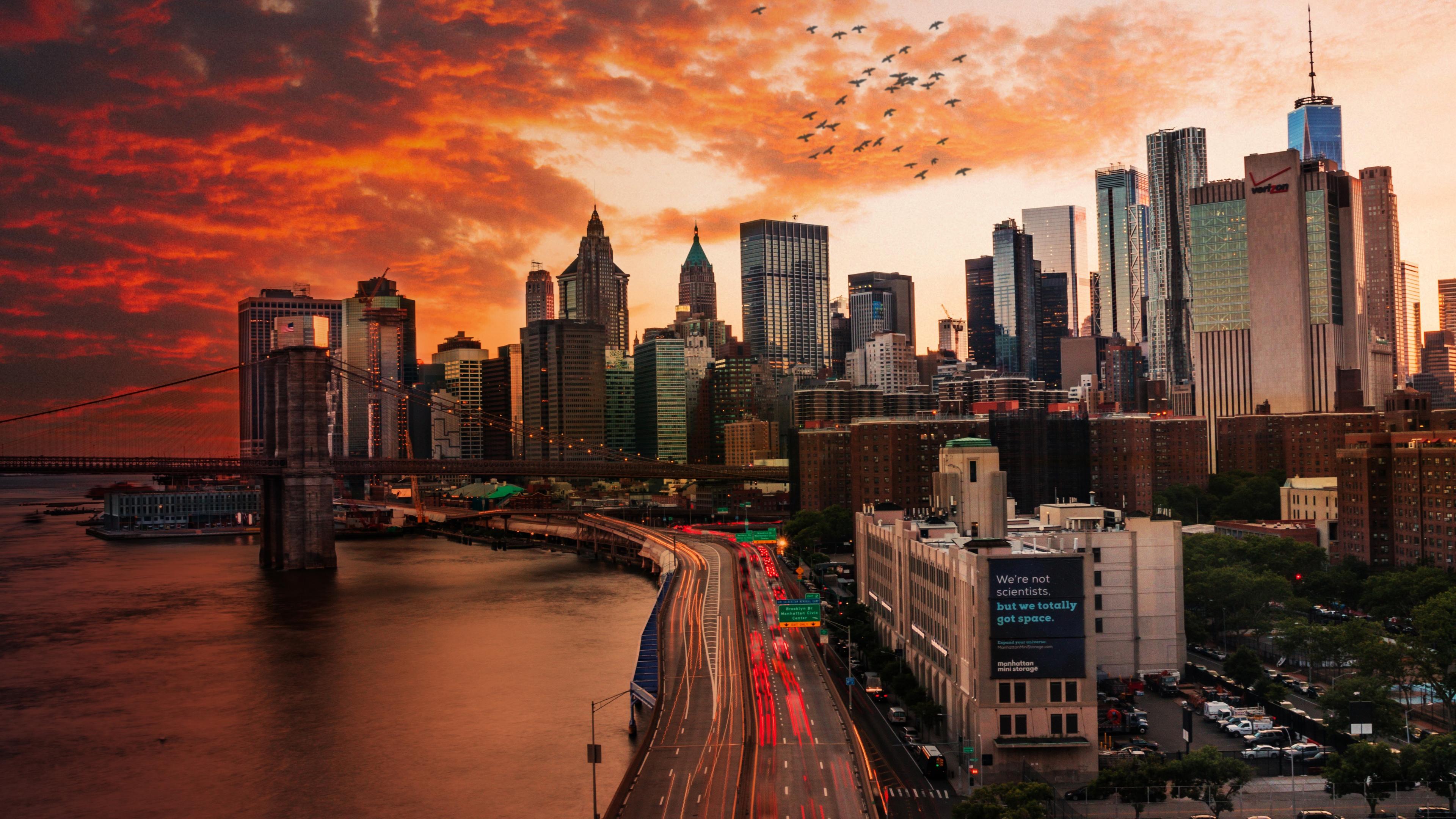sunset over manhattan bridge 1569187795 - Sunset Over Manhattan Bridge - world wallpapers, new york wallpapers, manhattan wallpapers, hd-wallpapers, city wallpapers, 4k-wallpapers
