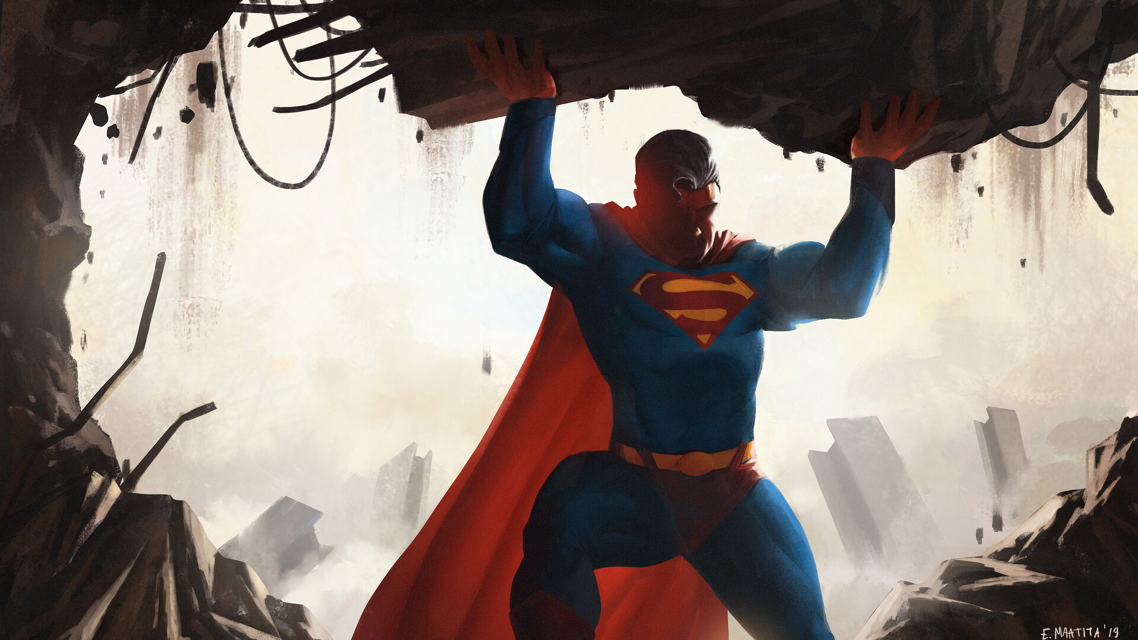 superman saving 1569186761 - Superman Saving - superman wallpapers, superheroes wallpapers, hd-wallpapers, digital art wallpapers, batman wallpapers, artwork wallpapers, artstation wallpapers, 4k-wallpapers
