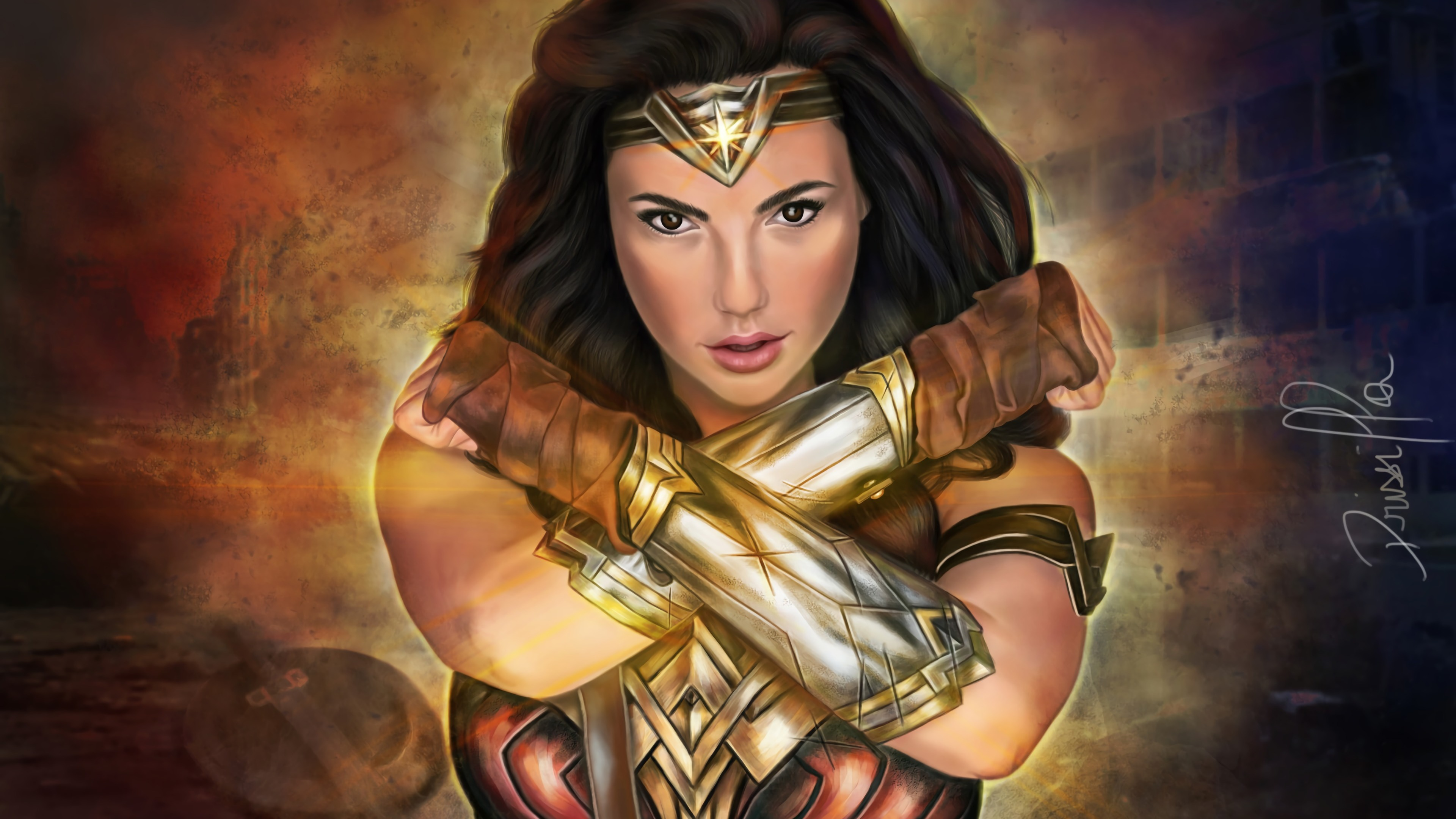 wonder woman paint art 1568054600 - wonder Woman Paint Art - wonder woman wallpapers, superheroes wallpapers, hd-wallpapers, digital art wallpapers, artwork wallpapers, artstation wallpapers, 4k-wallpapers