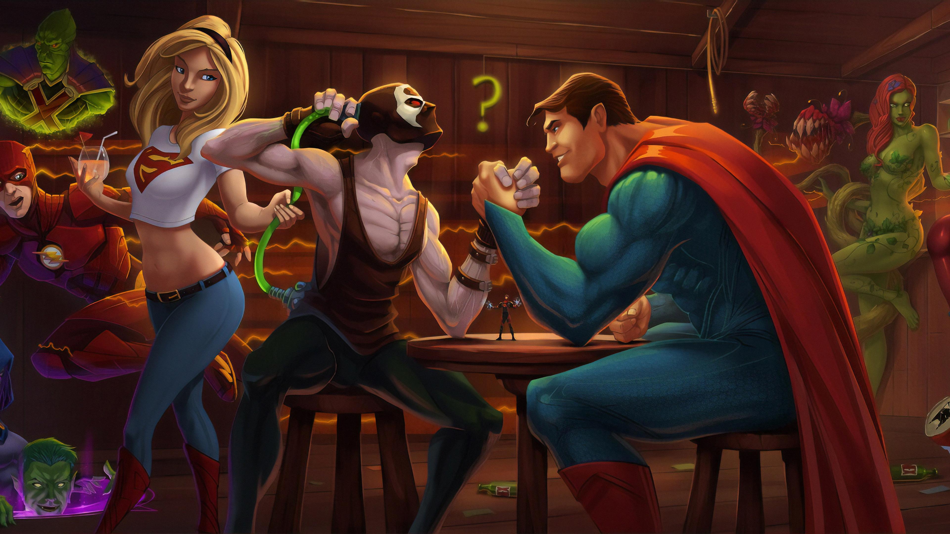 bane and superman 1570393978 - Bane And Superman - superman wallpapers, superheroes wallpapers, hd-wallpapers, bane wallpapers, artwork wallpapers, artstation wallpapers, 4k-wallpapers