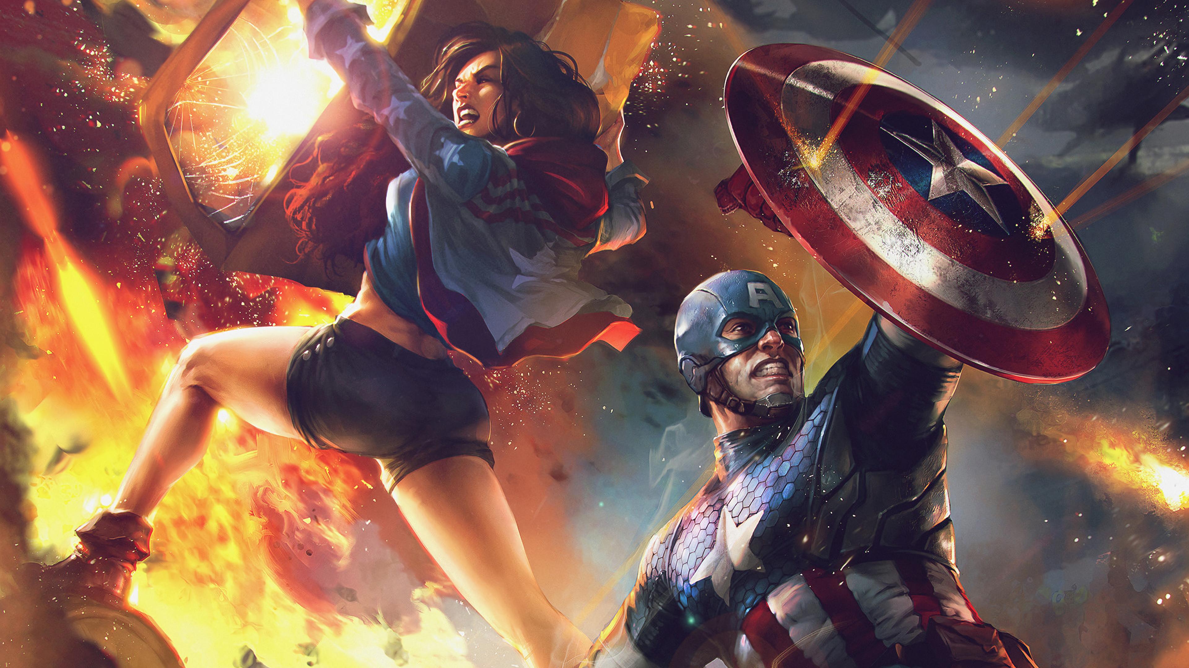 captain america and miss america 1570394733 - Captain America And Miss America - superheroes wallpapers, miss america wallpapers, hd-wallpapers, digital art wallpapers, captain america wallpapers, artwork wallpapers, artstation wallpapers, artist wallpapers, 4k-wallpapers