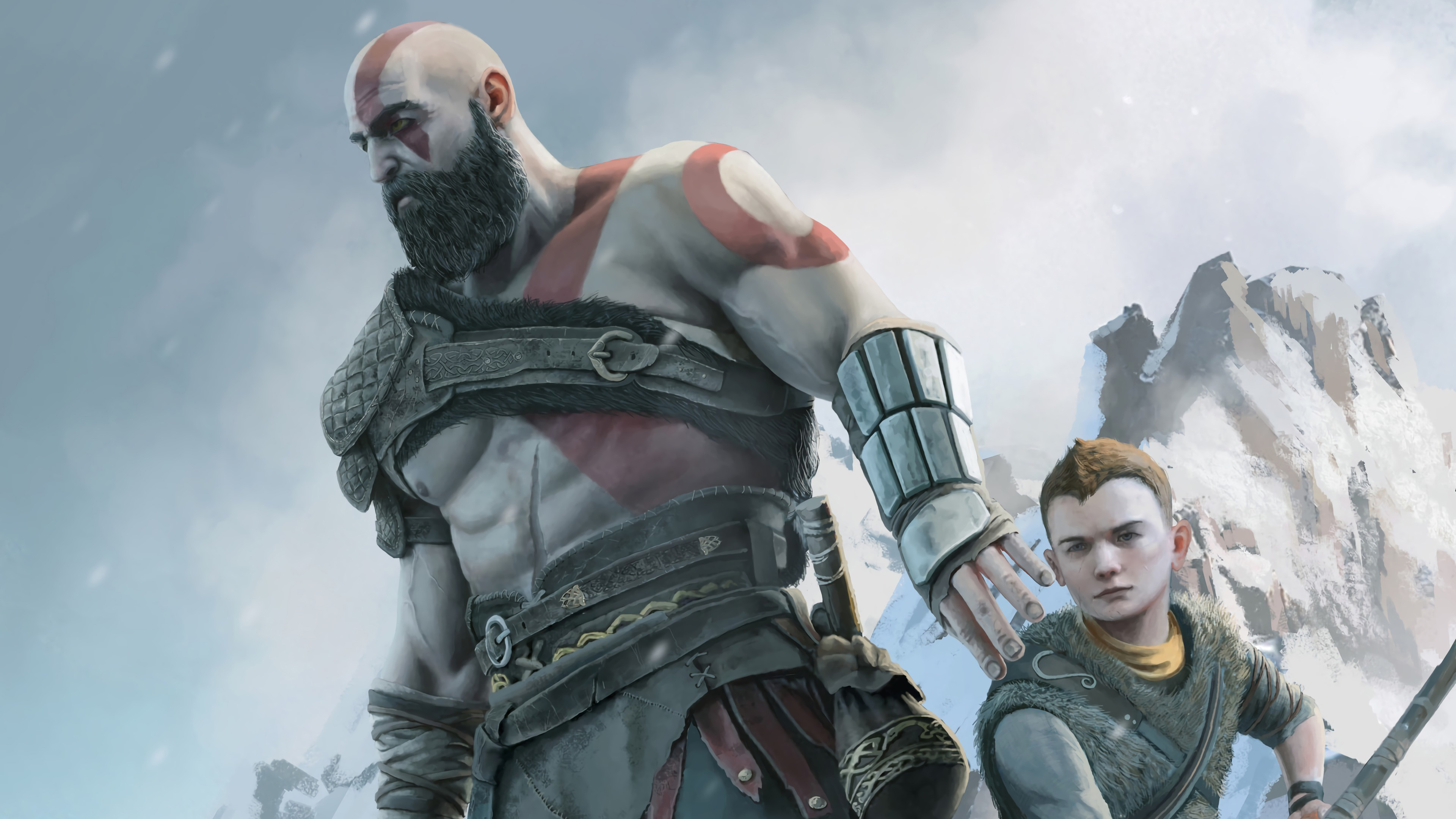 dad and son 1570393021 - Dad And Son - kratos wallpapers, hd-wallpapers, god of war wallpapers, digital art wallpapers, artwork wallpapers, artstation wallpapers, 4k-wallpapers