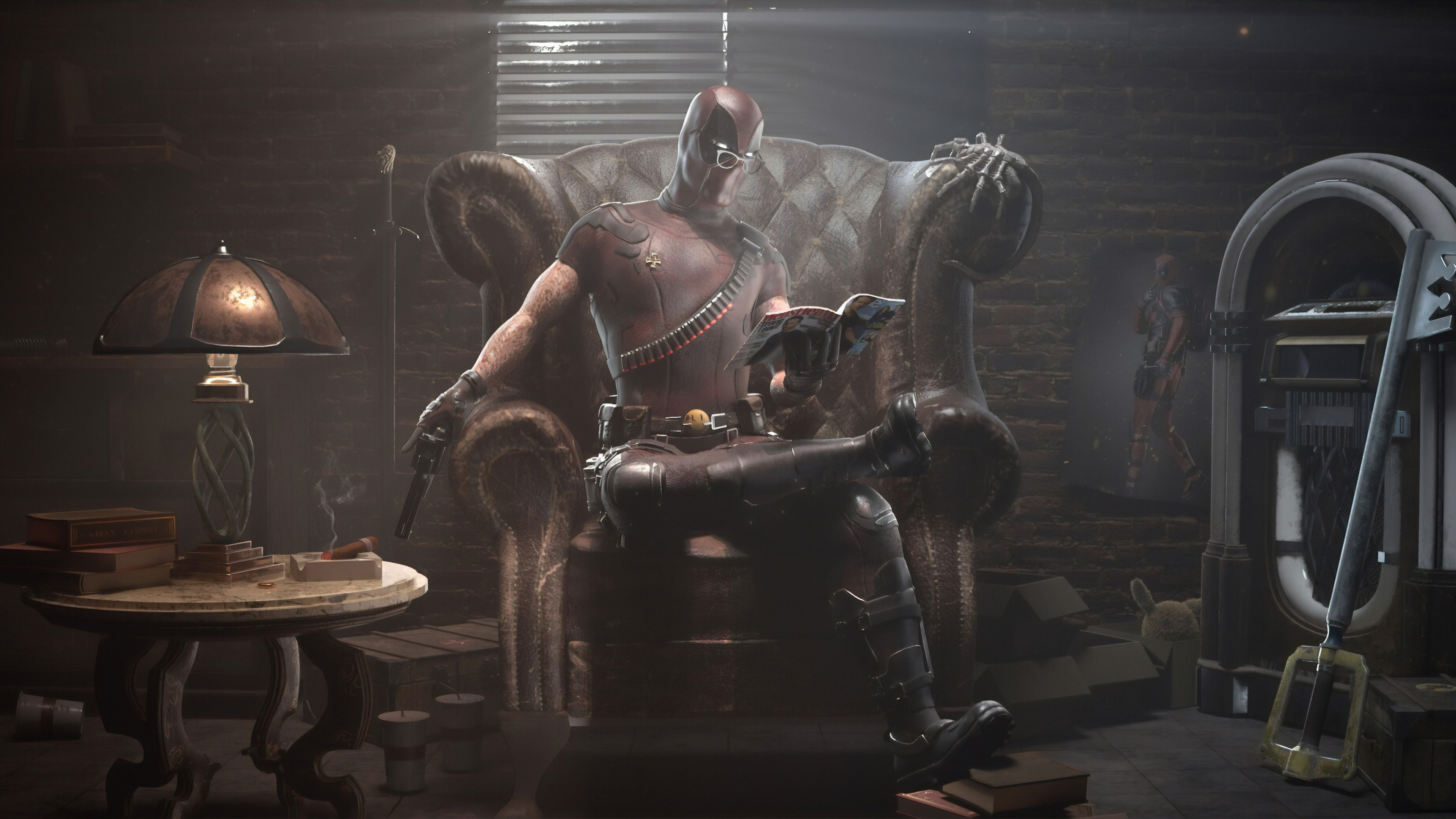 deadpool reading book and guns 1570918472 - Deadpool Reading Book And Guns - superheroes wallpapers, hd-wallpapers, digital art wallpapers, deadpool wallpapers, artwork wallpapers, artstation wallpapers, 4k-wallpapers