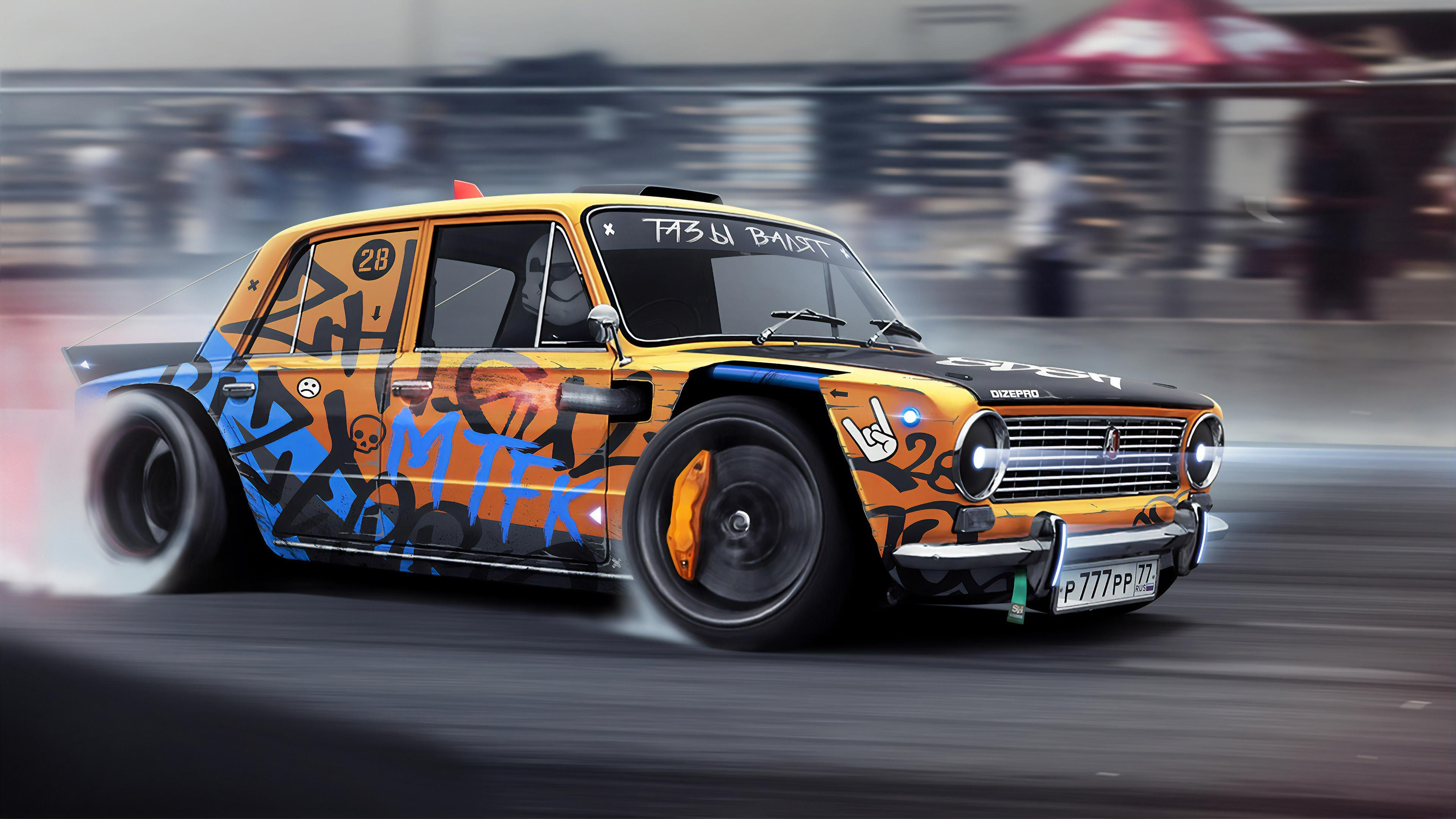 drift monster 1570919234 - Drift Monster - hd-wallpapers, drifting cars wallpapers, digital art wallpapers, cars wallpapers, artwork wallpapers, artstation wallpapers, artist wallpapers, 4k-wallpapers