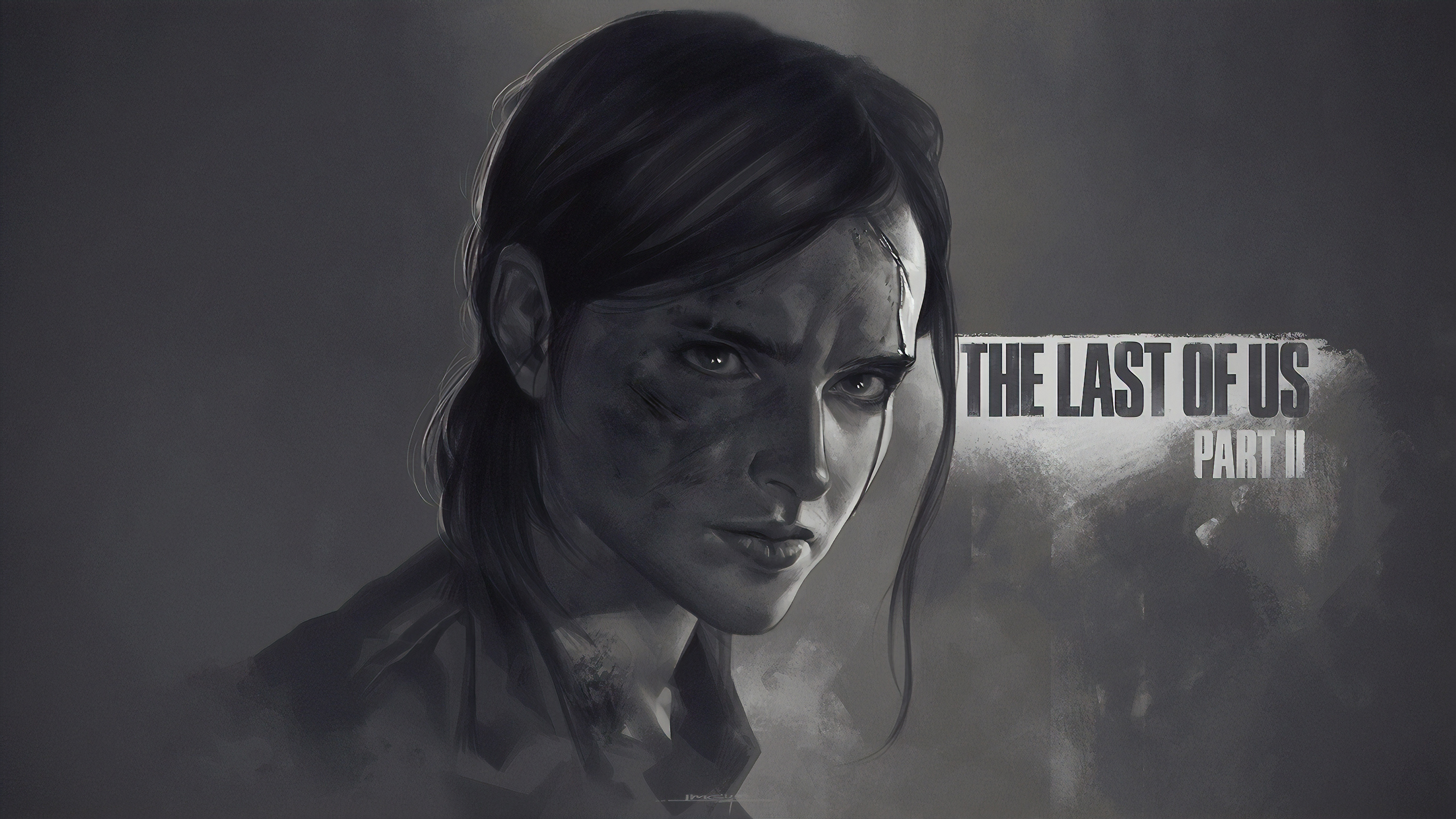 Wallpaper 4k Ellie The Last Of Us Part 2 Monochrome Poster