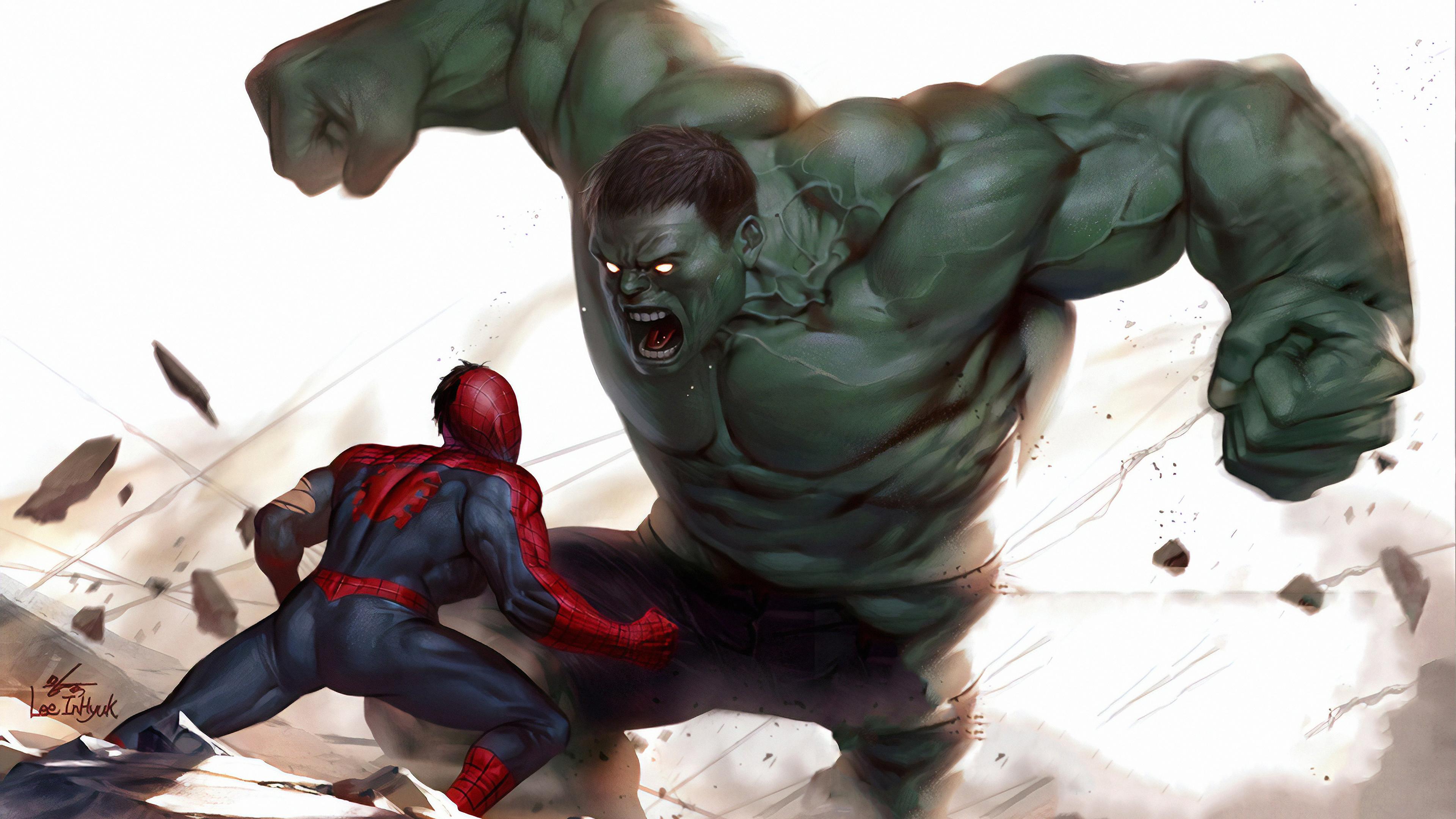 hulk vs spiderman art 1570394526 - Hulk Vs Spiderman Art - superheroes wallpapers, spiderman wallpapers, hulk wallpapers, hd-wallpapers, deviantart wallpapers, artwork wallpapers, 4k-wallpapers