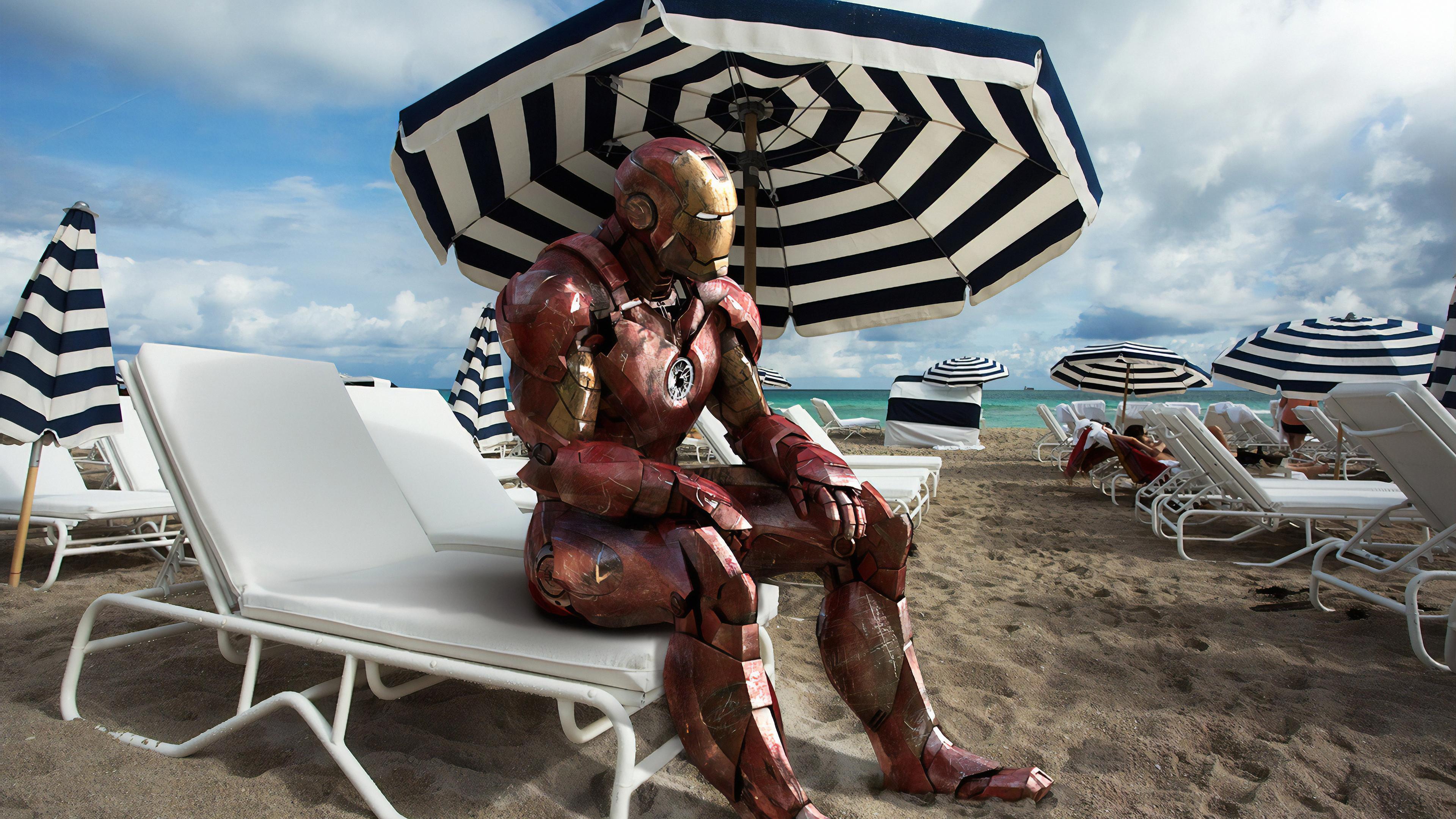iron man on beach 1570394571 - Iron Man On Beach - superheroes wallpapers, iron man wallpapers, hd-wallpapers, digital art wallpapers, behance wallpapers, artwork wallpapers, 4k-wallpapers