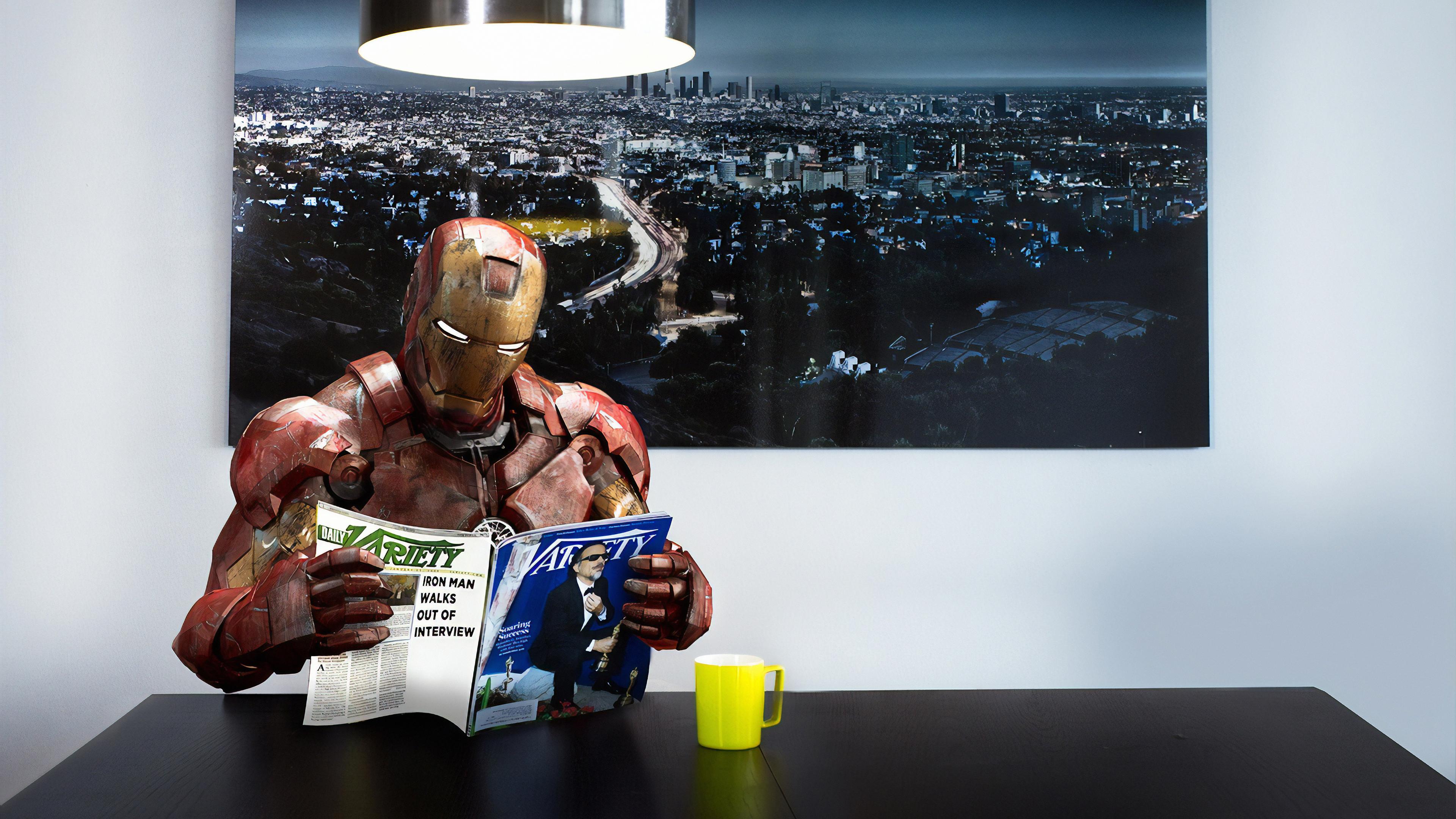 iron man reading magazine 1570394569 - Iron Man Reading Magazine - superheroes wallpapers, iron man wallpapers, hd-wallpapers, digital art wallpapers, behance wallpapers, artwork wallpapers, 4k-wallpapers